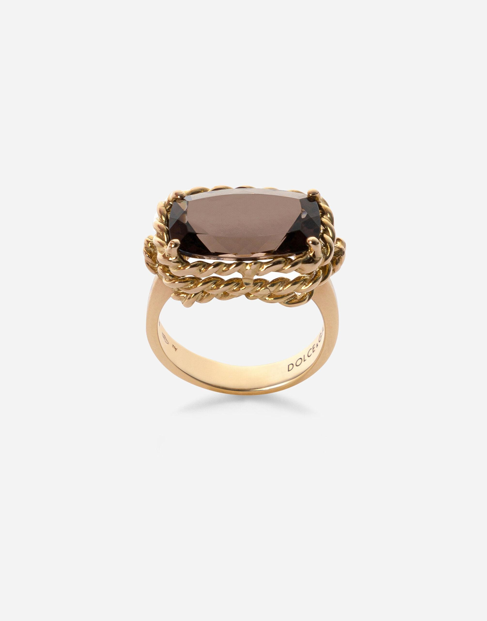 Anna ring in yellow 18kt gold with smoky quartz