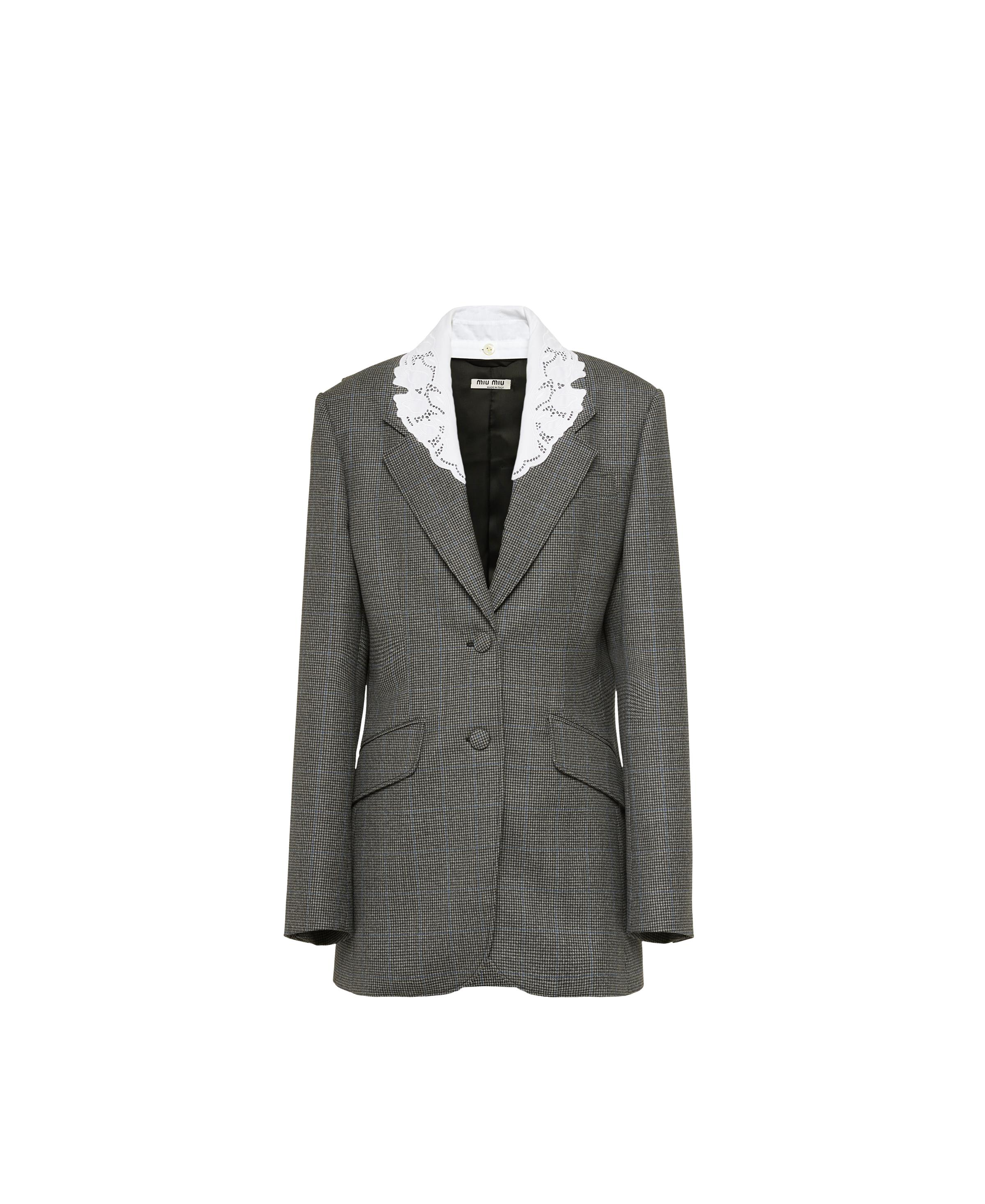 Single-breasted Houndstooth Check Jacket Women Grey