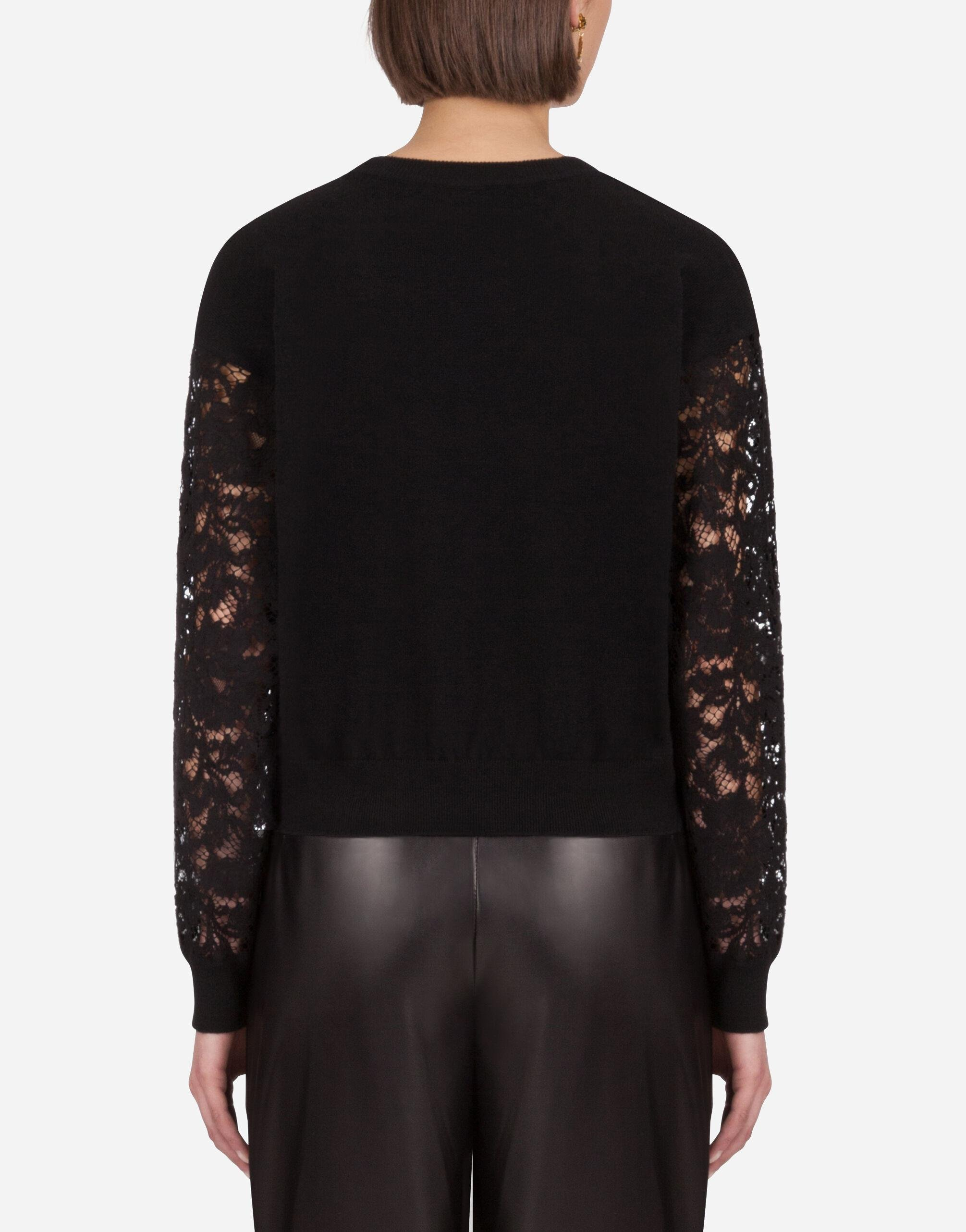 Cashmere sweater with lace sleeves 1