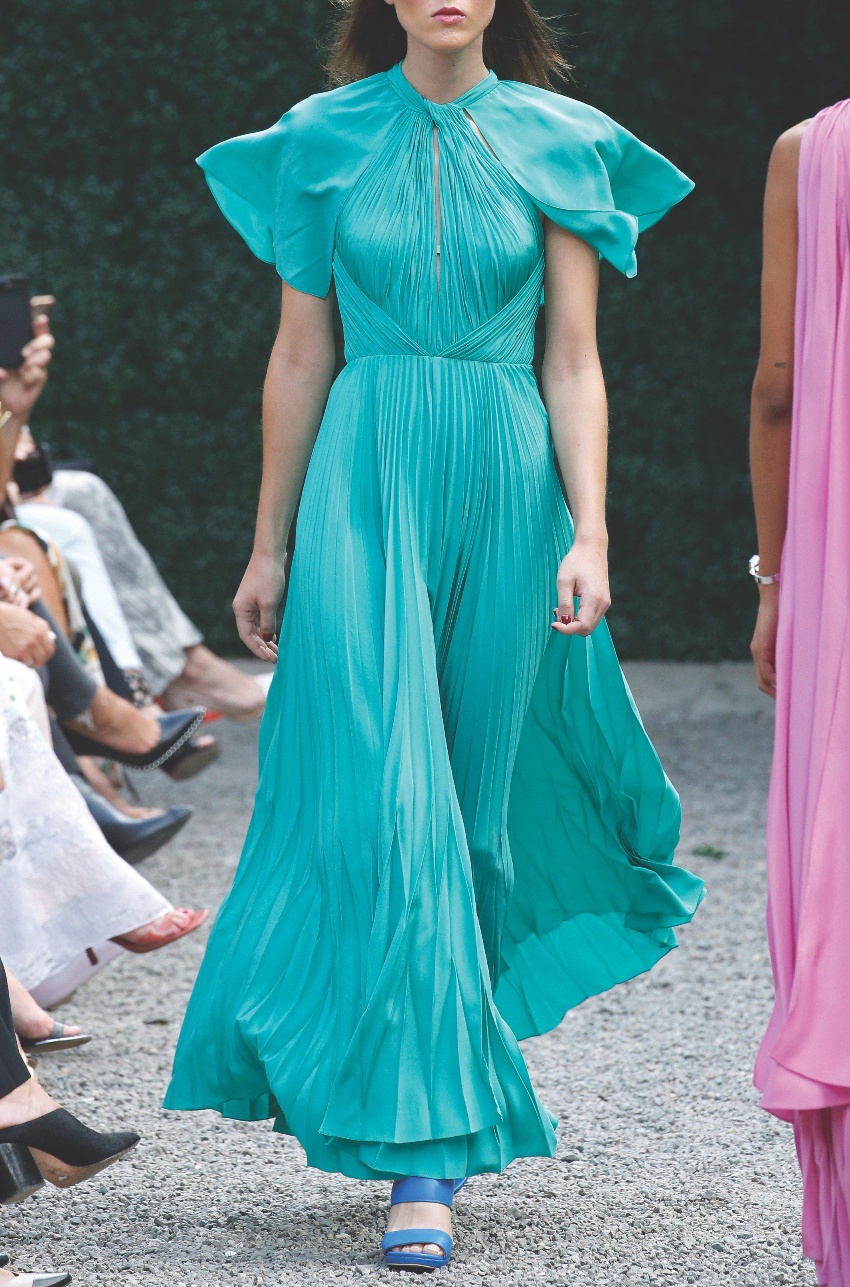 PLEATED CAPE MAXI GOWN 0