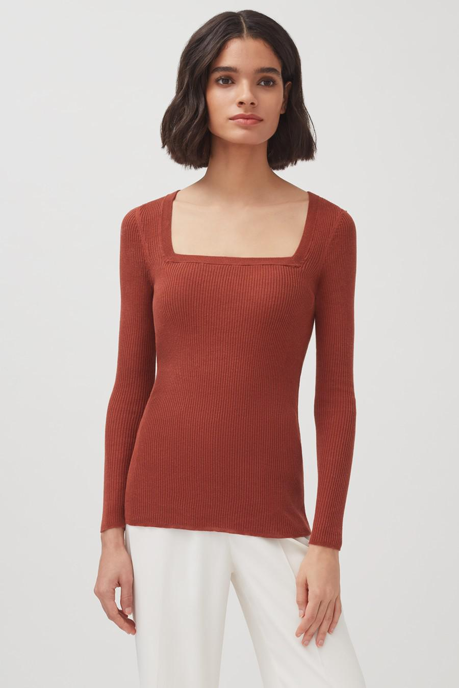 Women's Cotton Cashmere Square Neck Rib Sweater in Terracotta | Size: XL | Cotton Blend by Cuyana 1