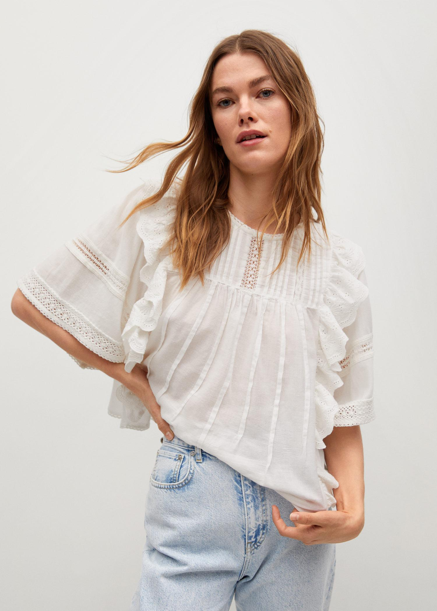 Cotton blouse with openwork details