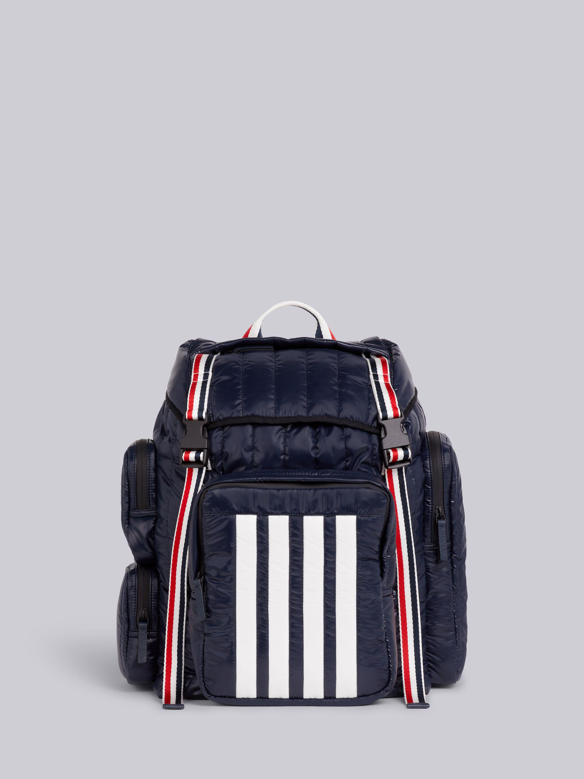 Navy Quilted Ripstop Tricolor Webbing Handles 4-Bar Backpack