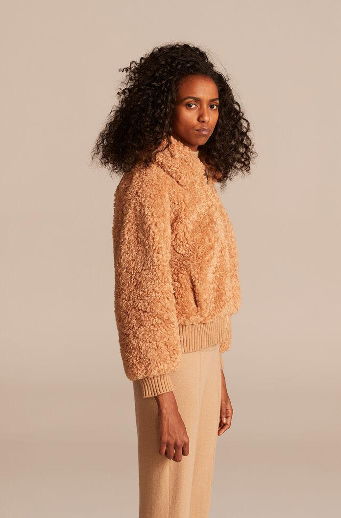 CURLY FAUX SHEARLING COAT
