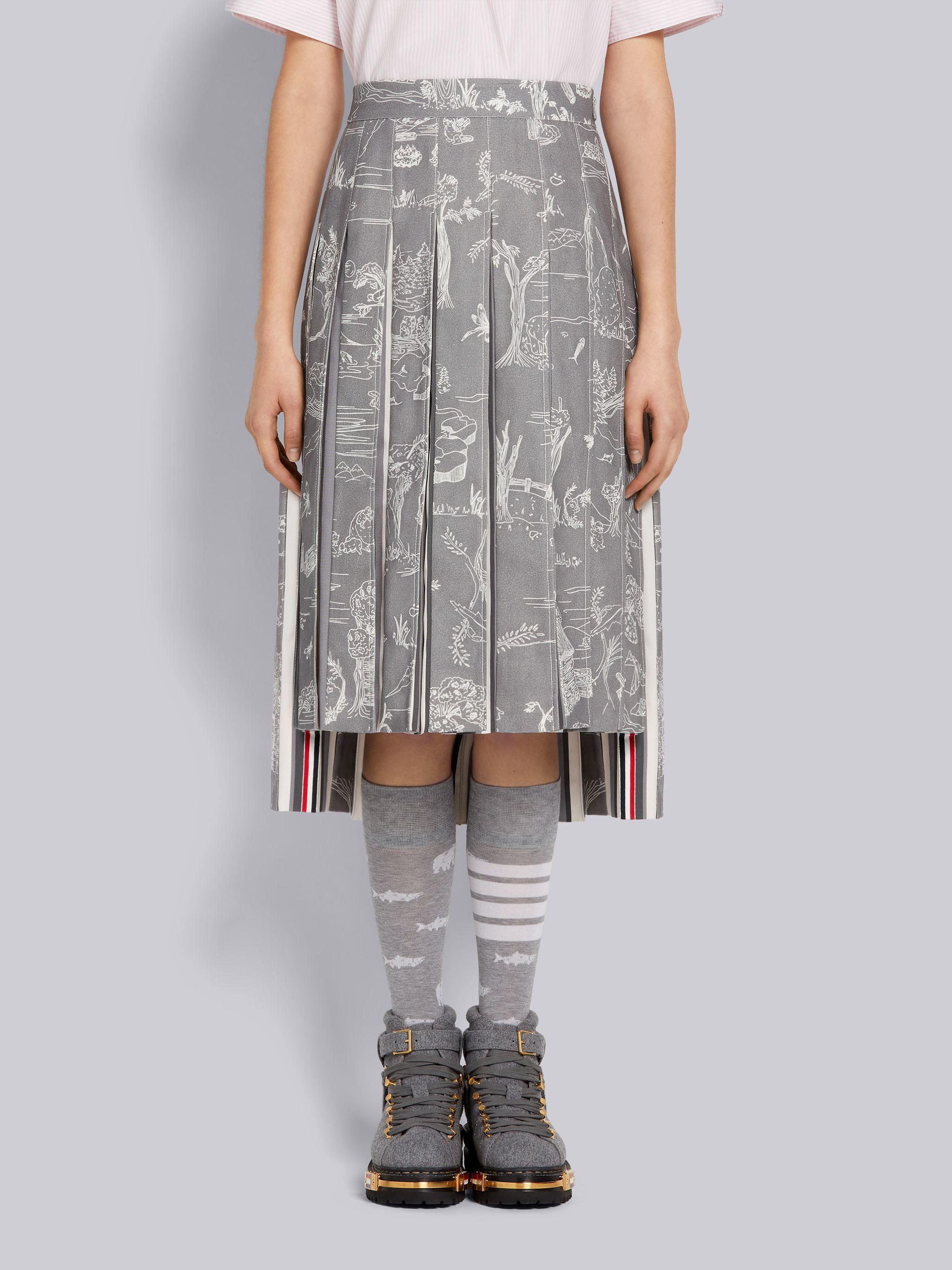 Medium Grey Animal Camp Toile Cotton Canvas Dropped Back Pleated Below-the-Knee Skirt