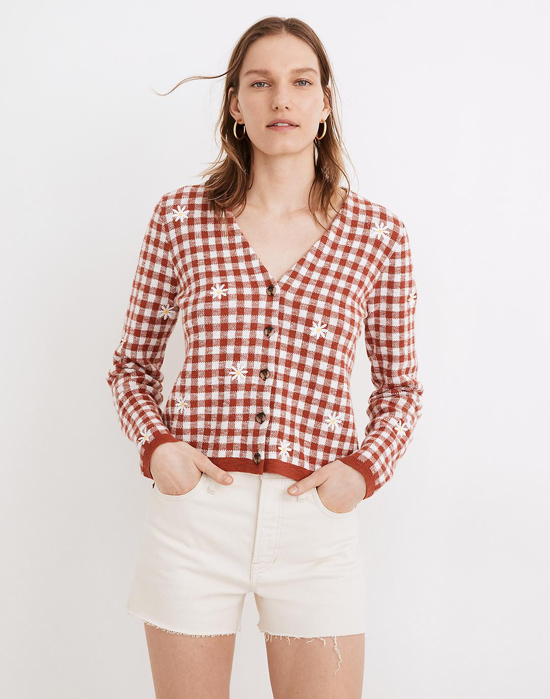Daisy Embroidered Gingham Cardigan Sweater