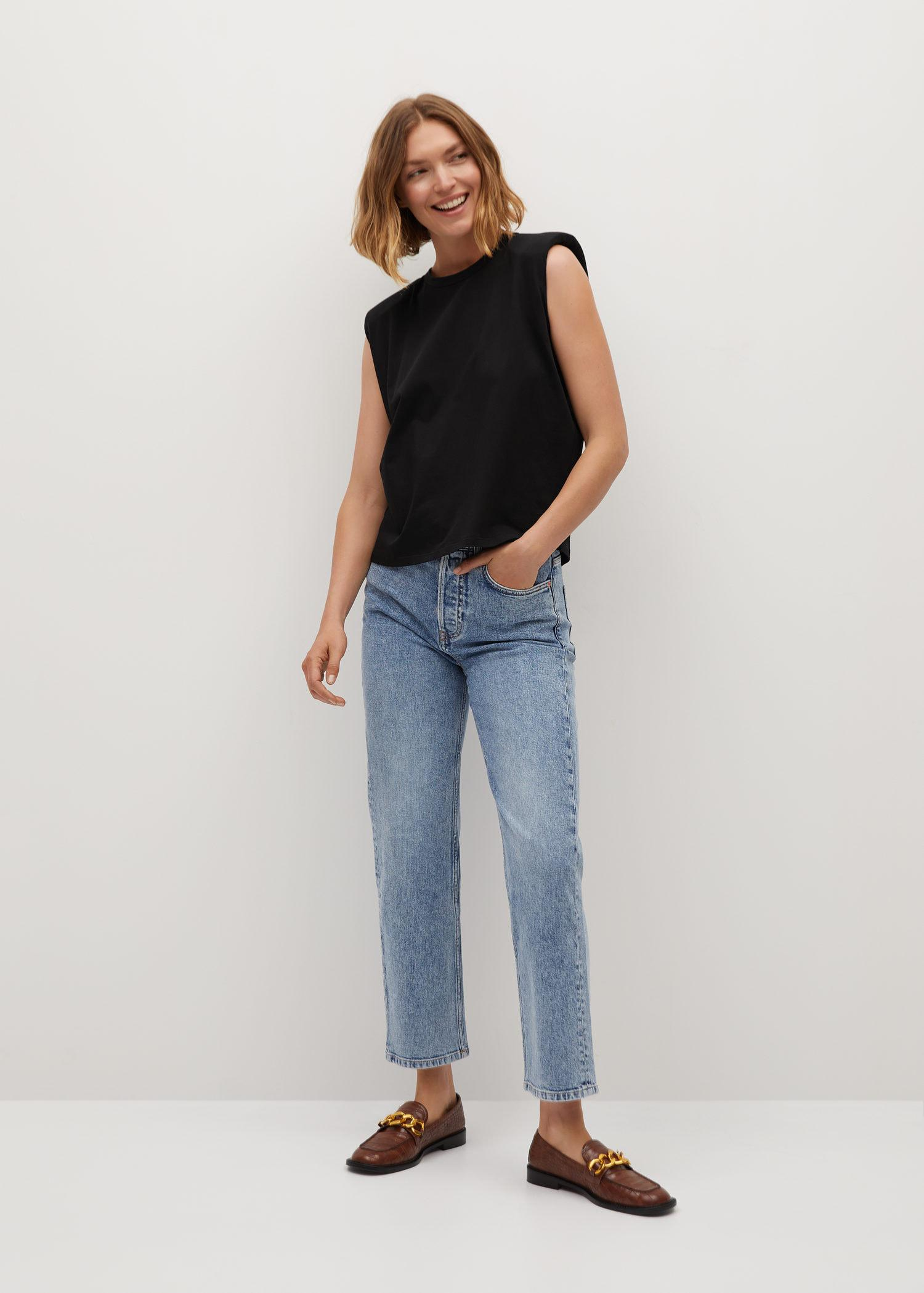 Organic cotton t-shirt with shoulder pads 1