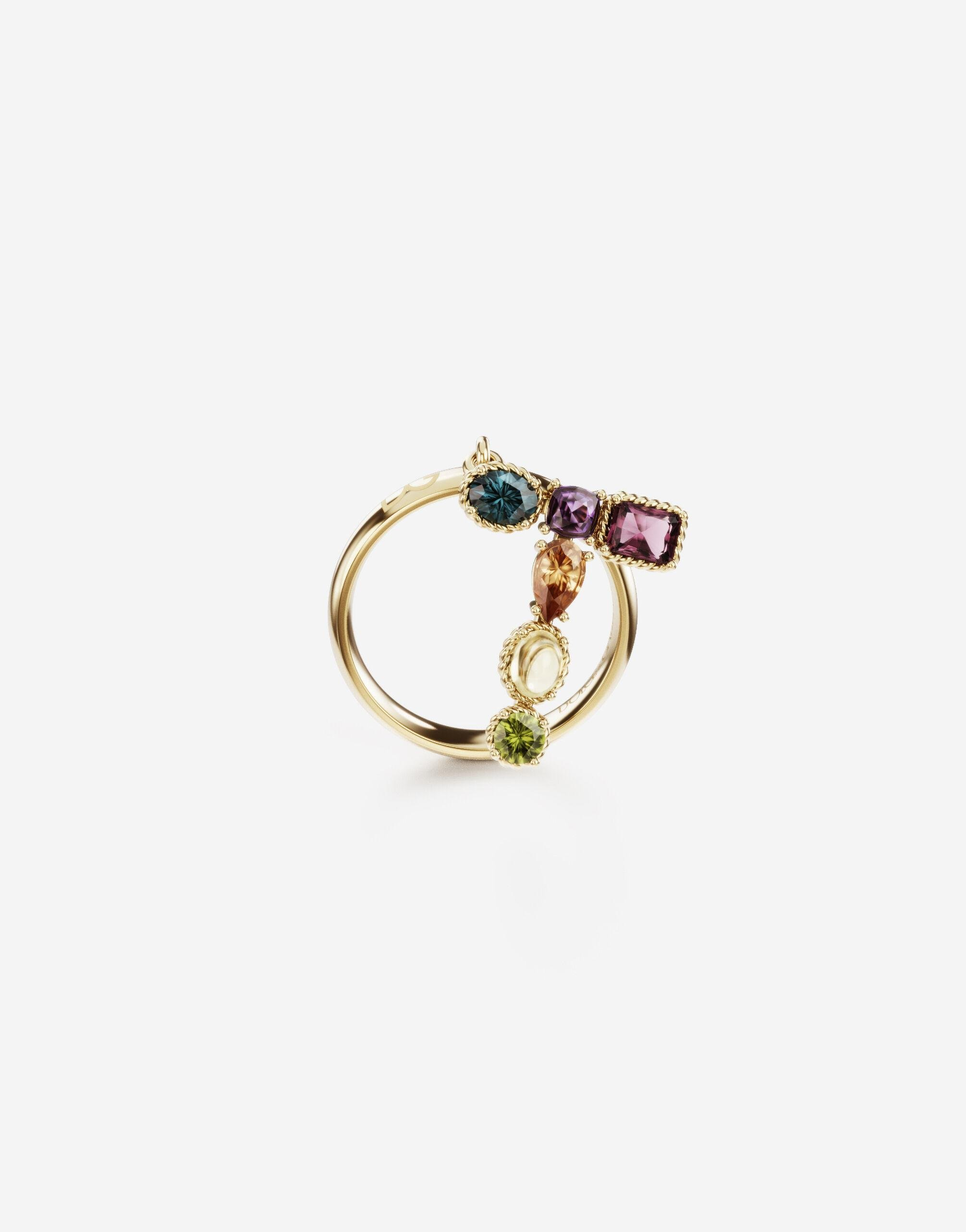 Rainbow alphabet T ring in yellow gold with multicolor fine gems