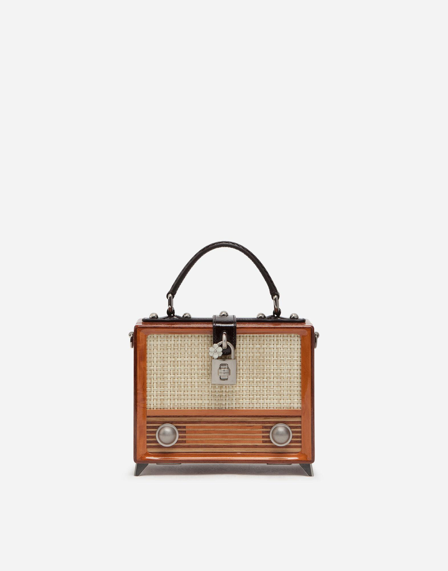 Radio Dolce Box bag in hand-painted wood