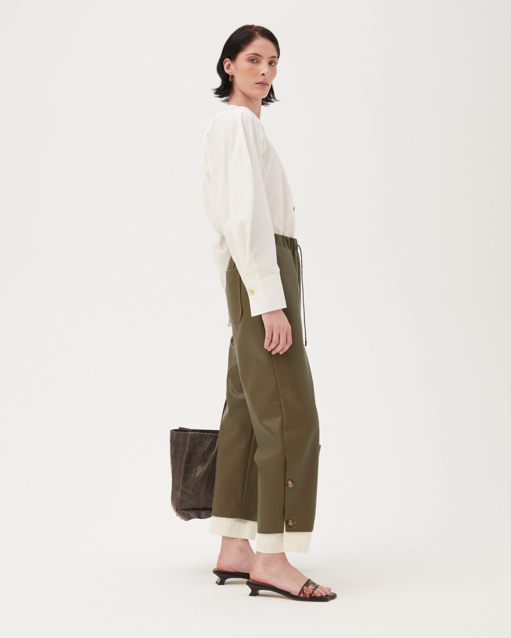 Noemi Trousers Faux Leather Green 1