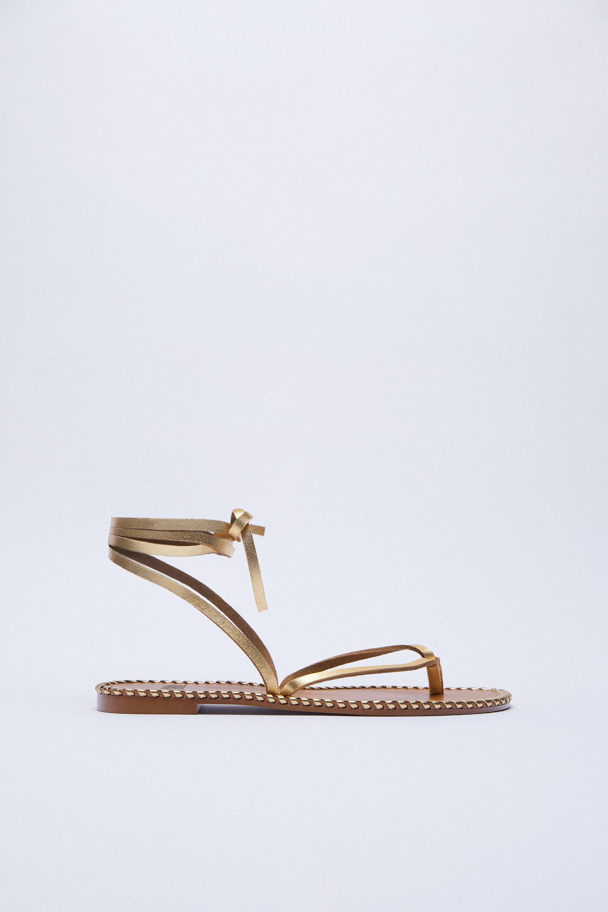 TOPSTITCHED LOW HEEL LEATHER SANDALS WITH ANKLE TIE 4