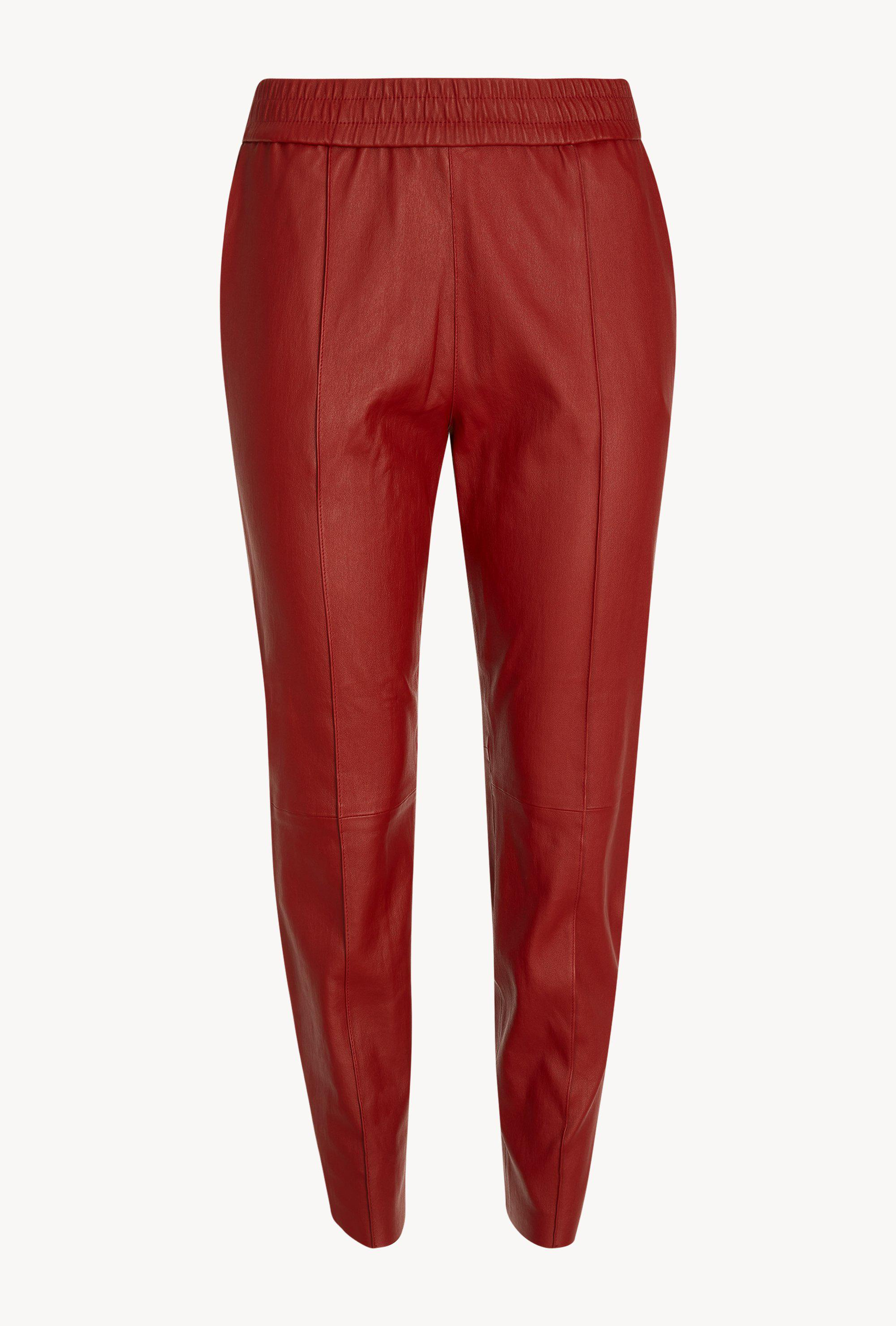 Blood Red Slim Fit Athletic Leather Joggers 3