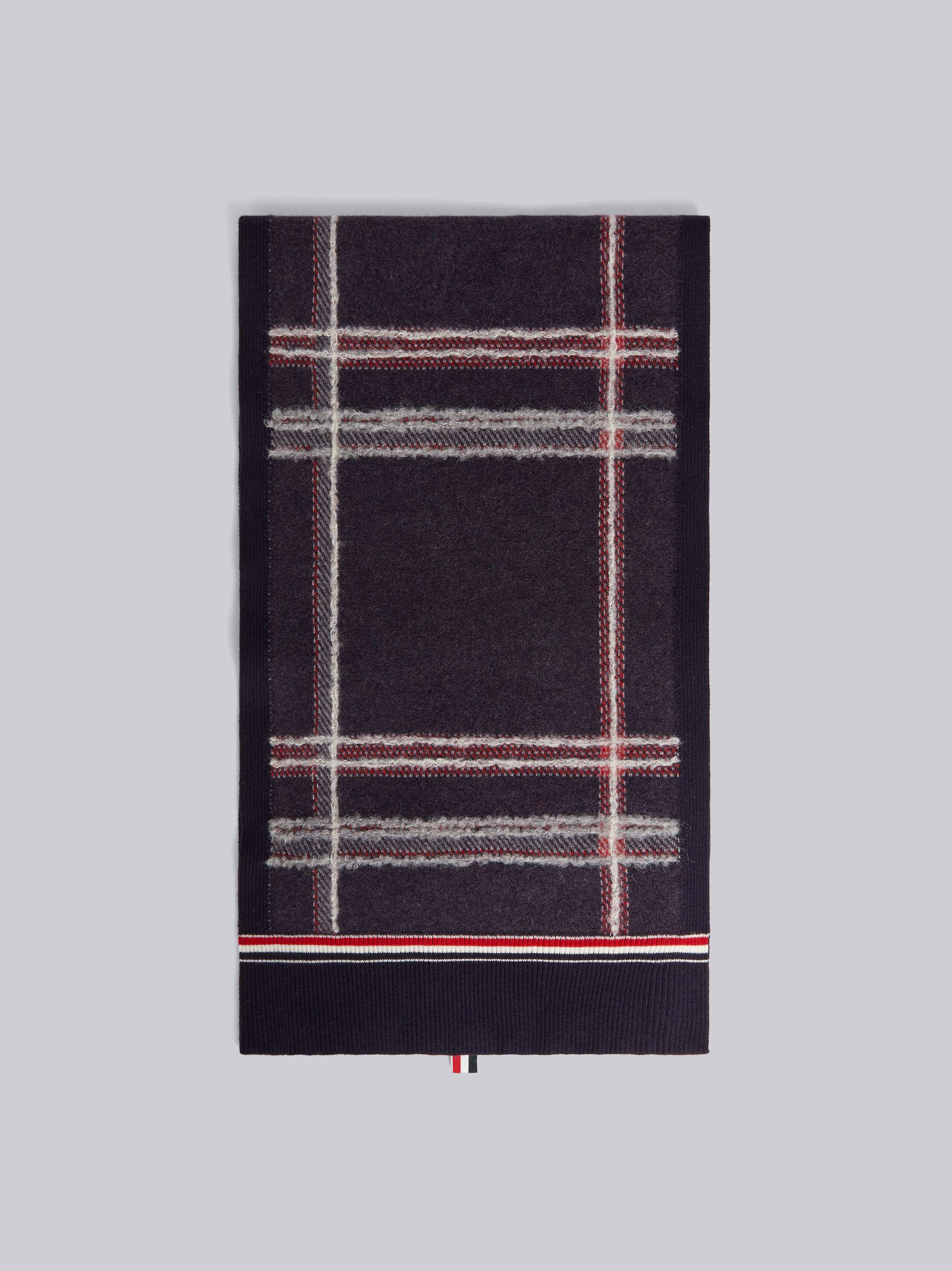 Multicolor Hairline Madras Check Jacquard Boiled Wool Stripe Scarf
