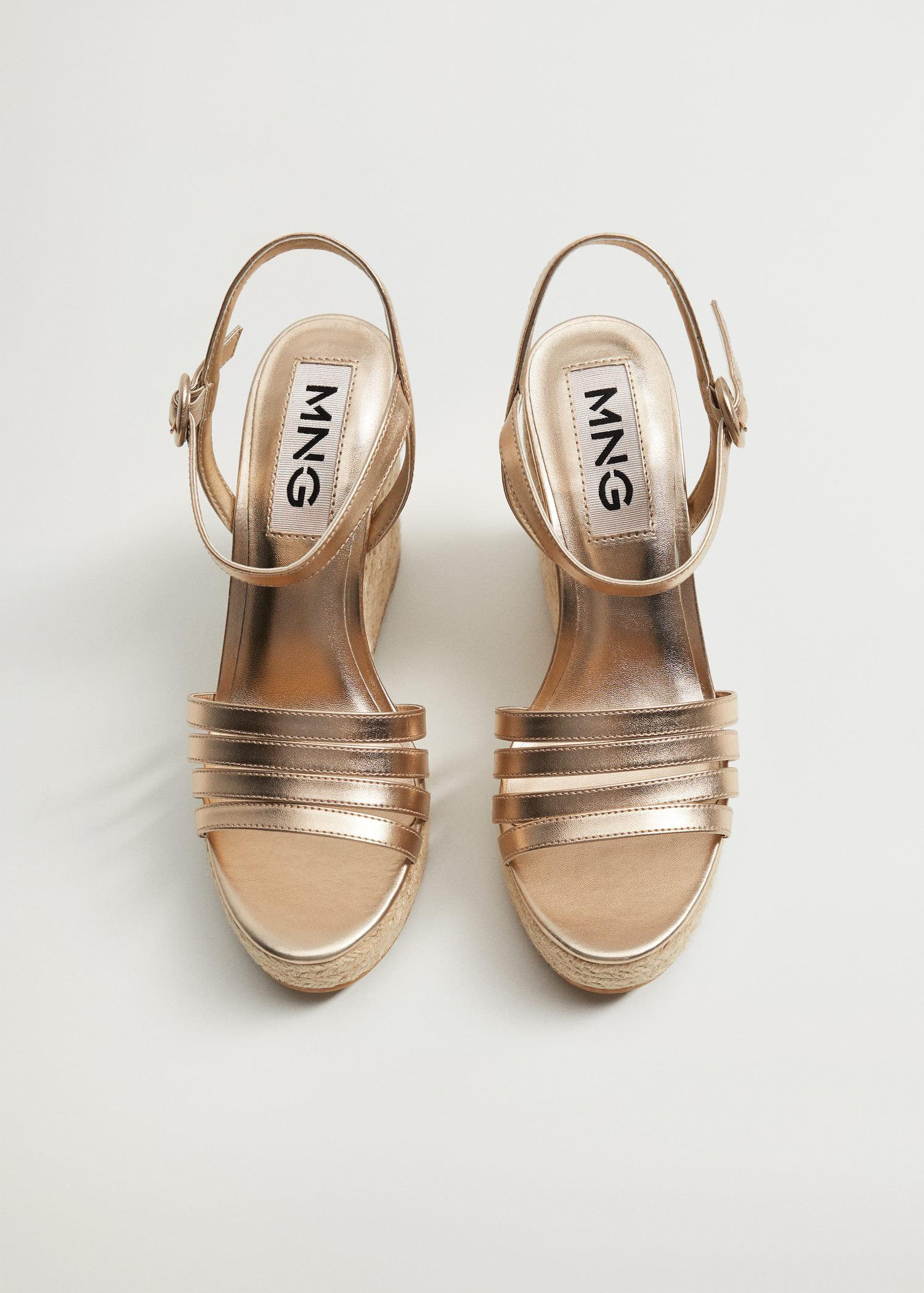 Metallic wedge sandals with straps 1