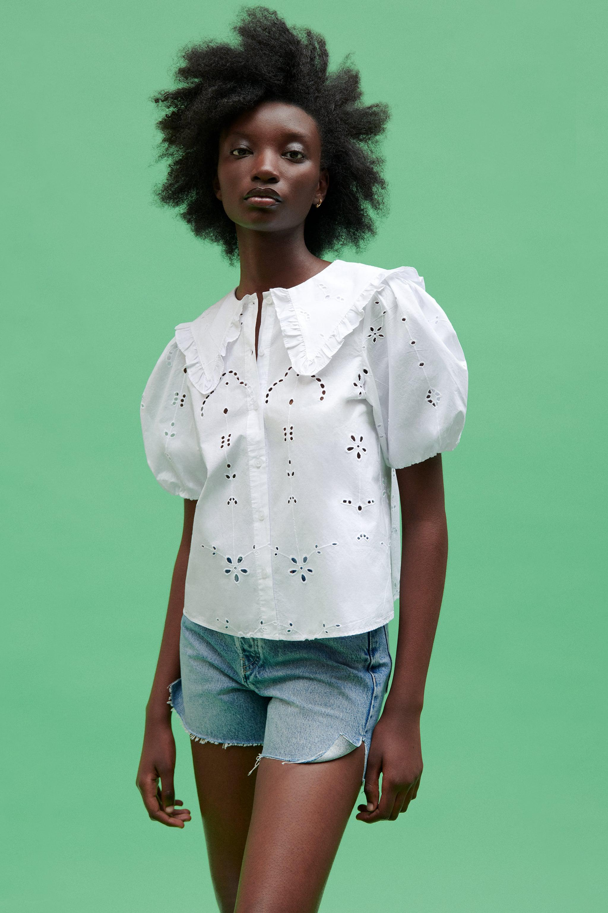 POPLIN TOP WITH EYELET EMBROIDERY 1