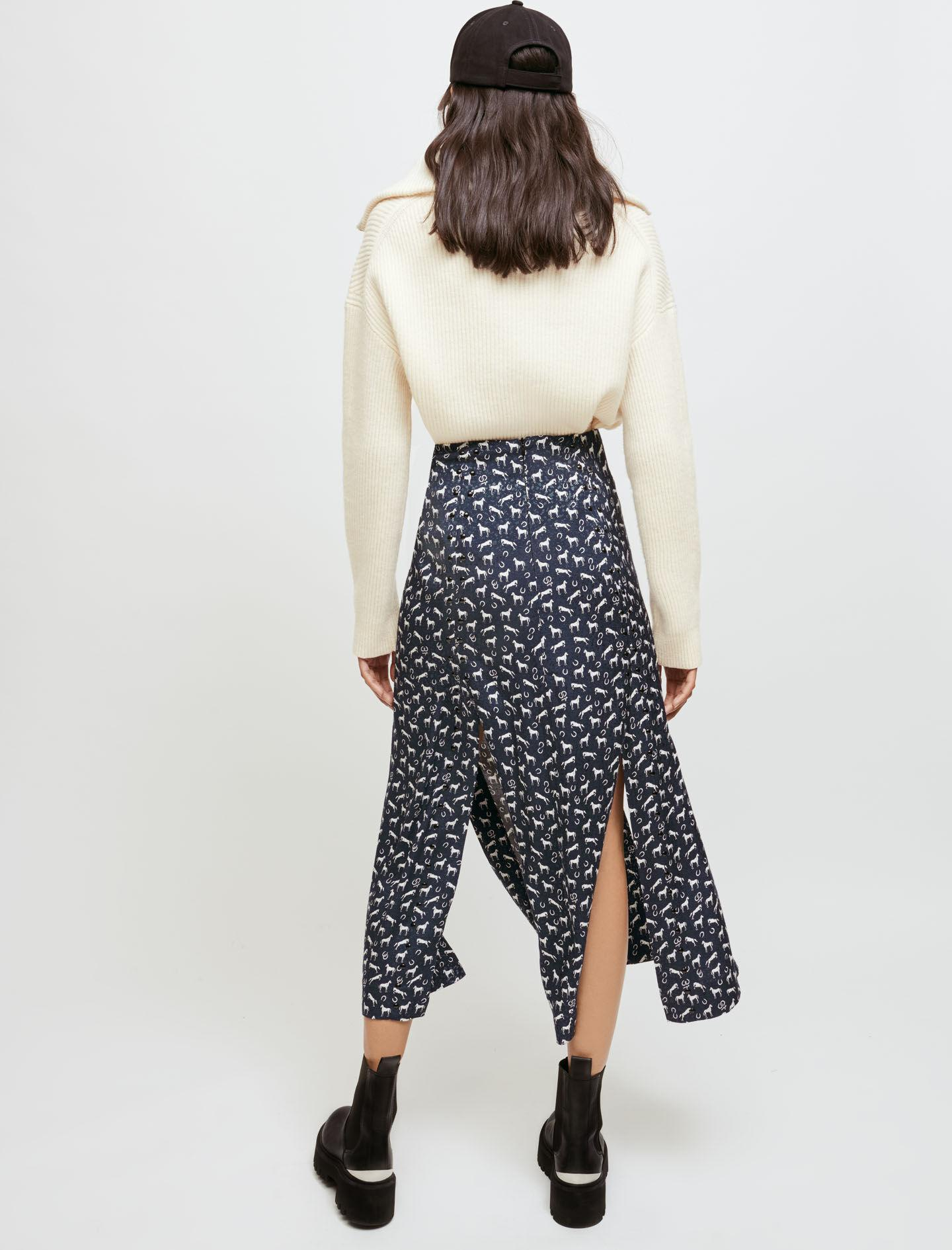HORSE PRINT JACQUARD SKIRT WITH STUDS 1