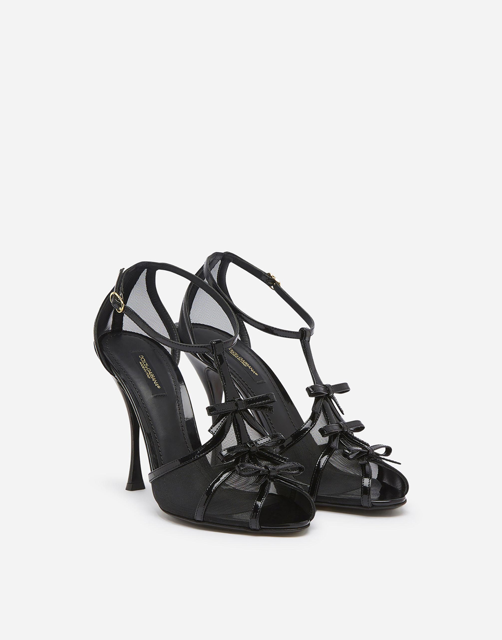 Polished calfskin and mesh sandals with small bows 1