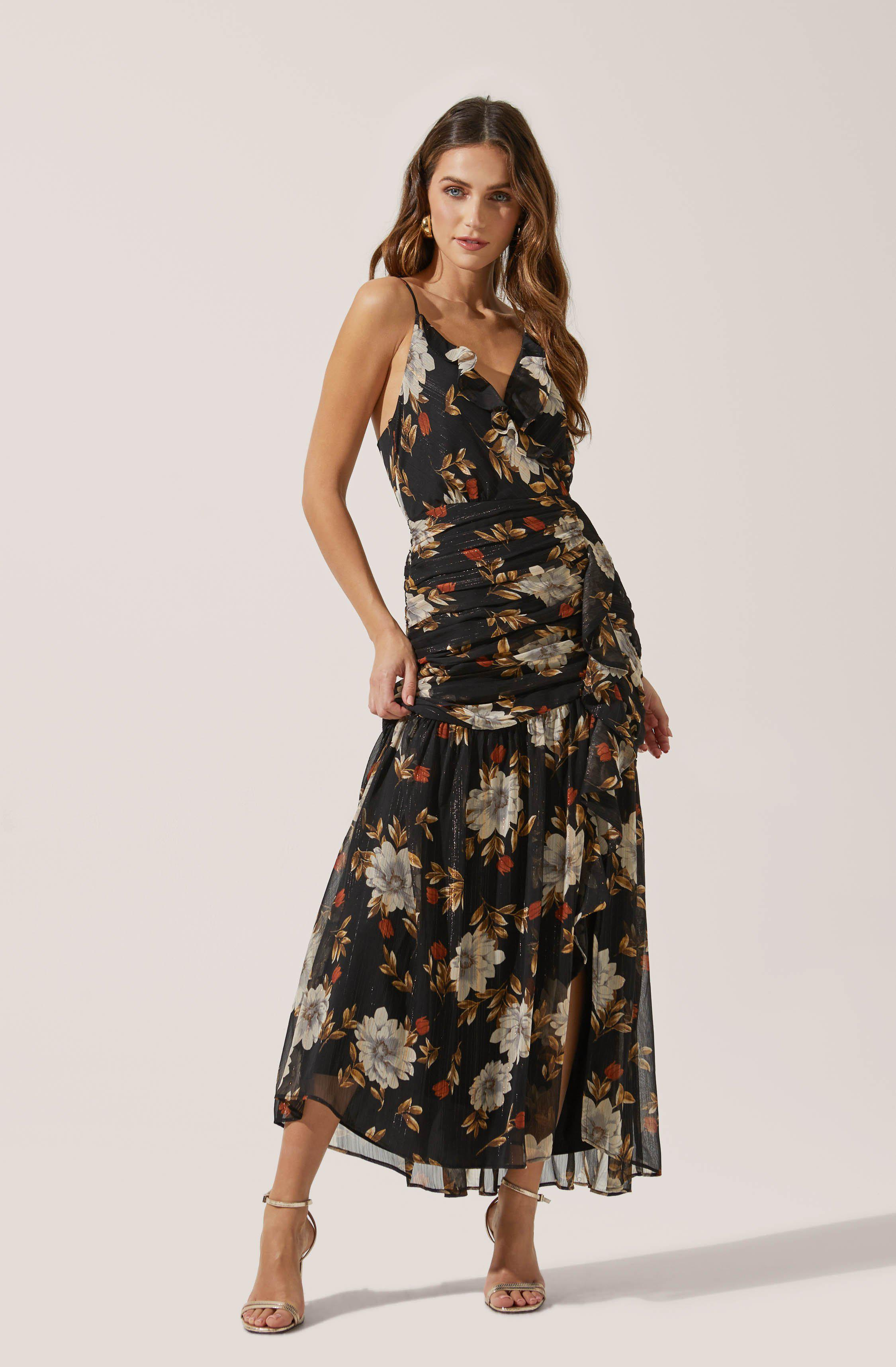Cinched Ruffle Floral Maxi
