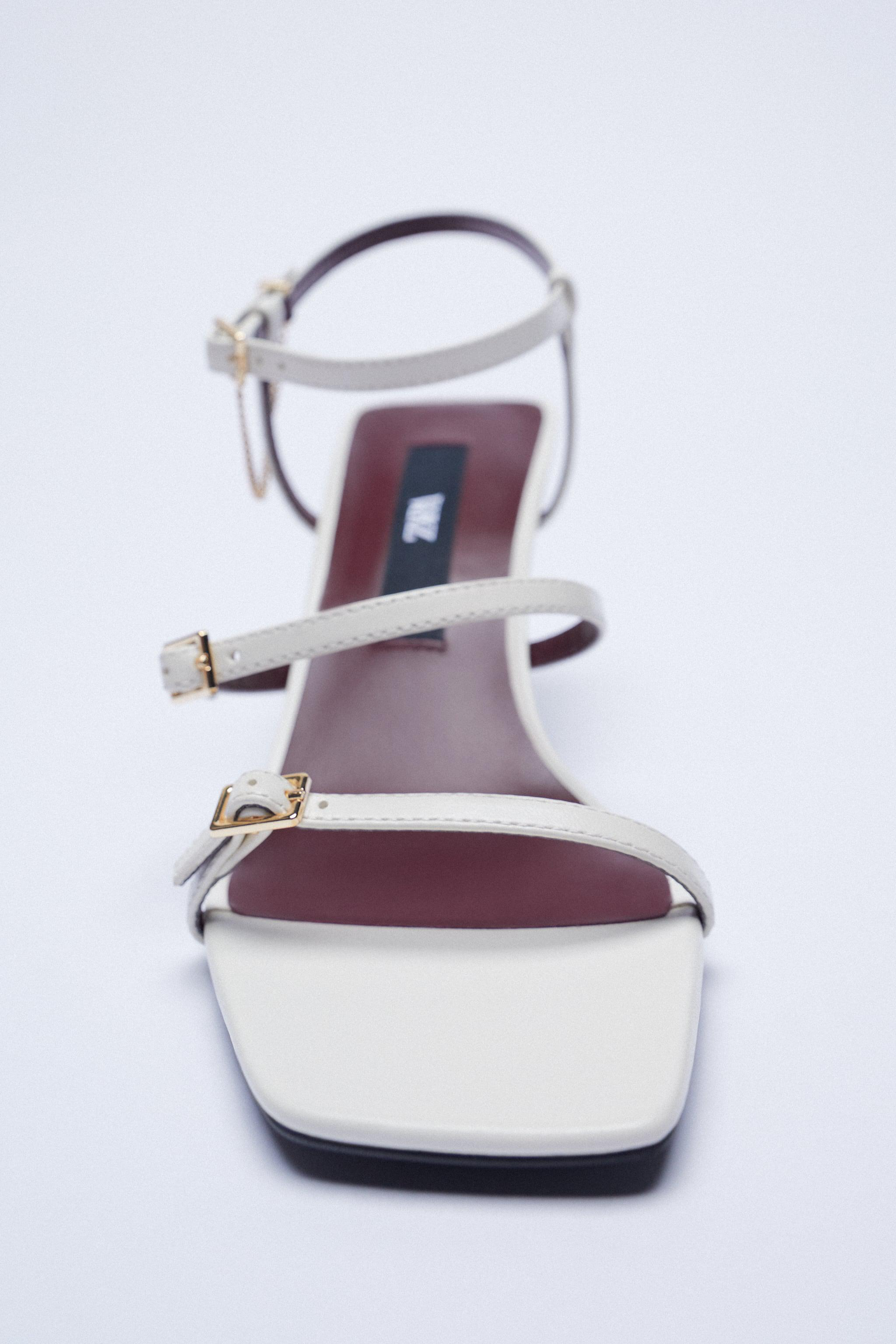 LEATHER HIGH HEEL STRAPPY SANDALS WITH BUCKLES 5
