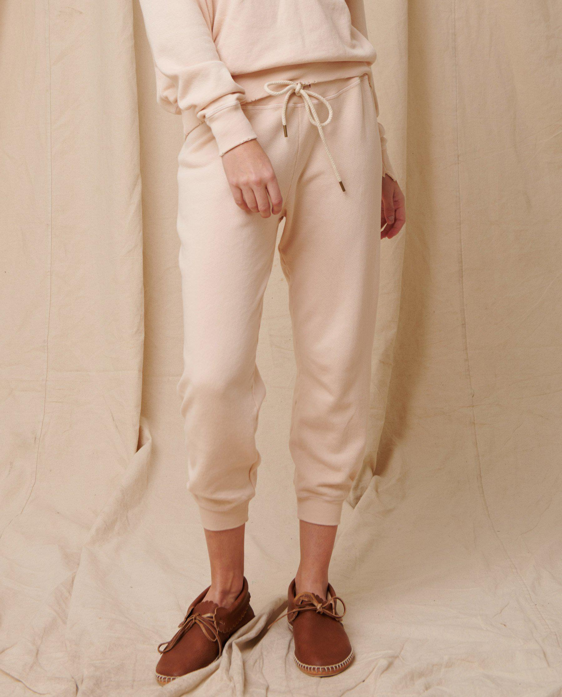 The Cropped Sweatpant. Solid -- Whisper Pink