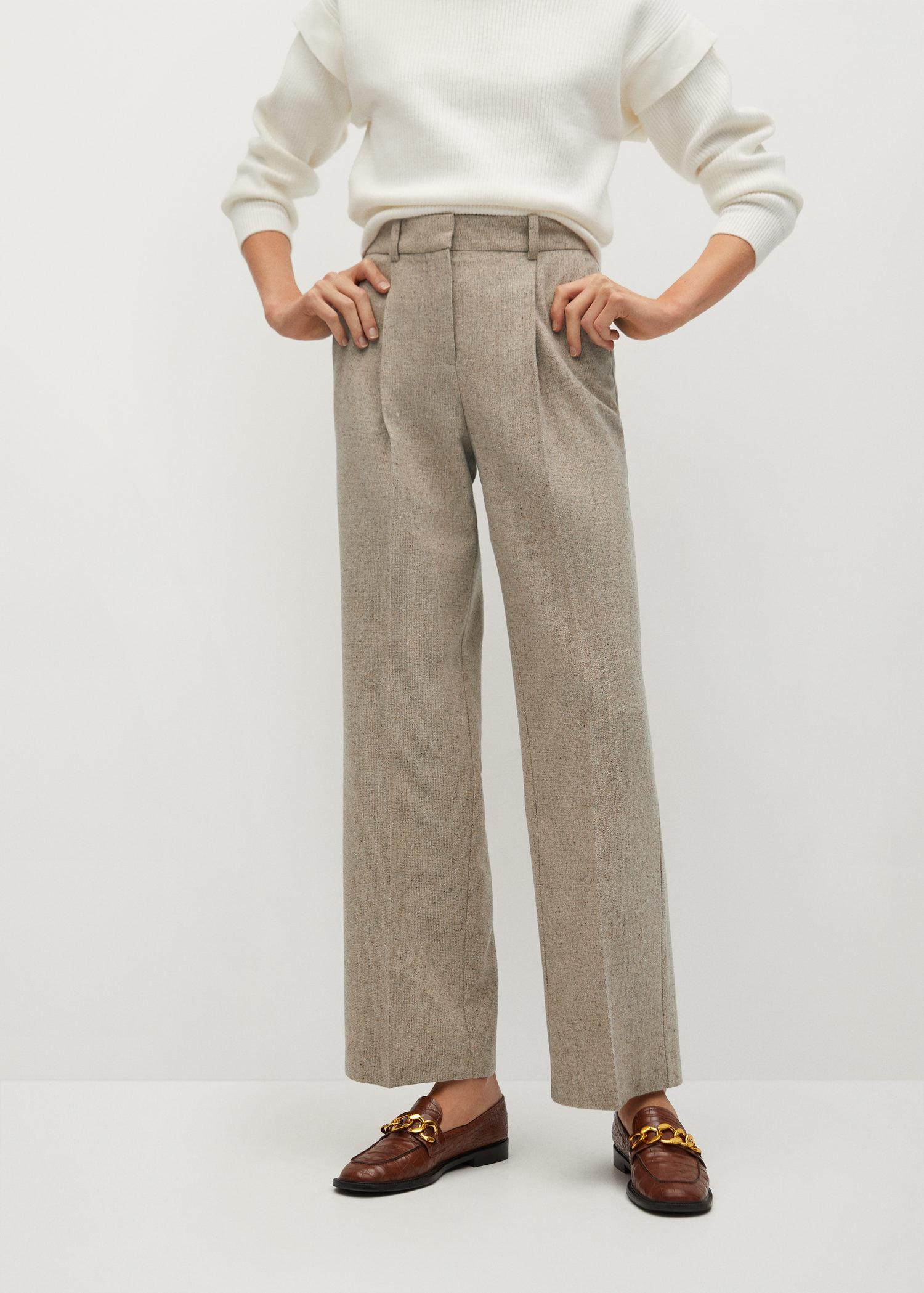 Flecked pleated trousers