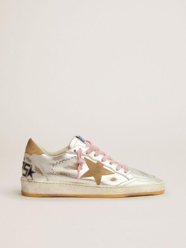 Ball Star LTD sneakers in silver laminated leather with sand-colored suede details