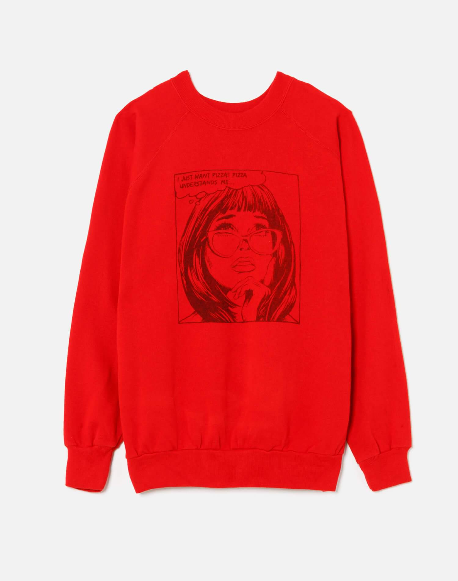 """Upcycled """"I Just Want Pizza"""" Sweatshirt - Red"""