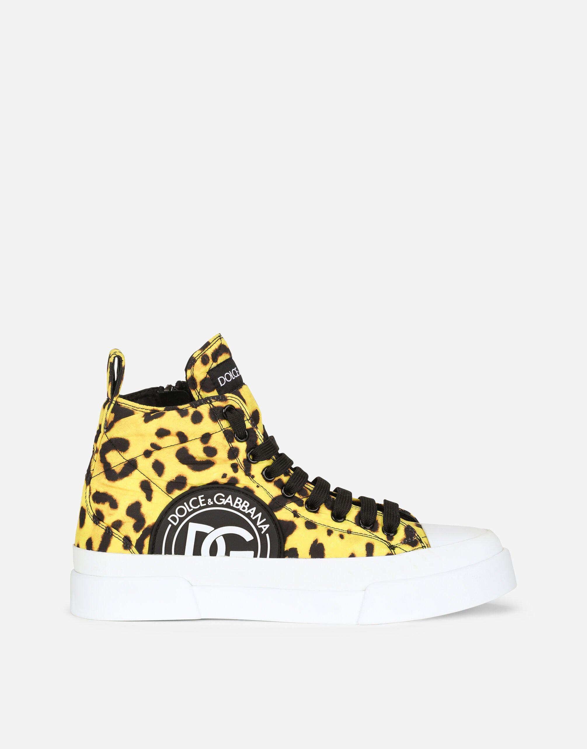 Quilted nylon Portofino Light mid-top sneakers with leopard print over yellow base