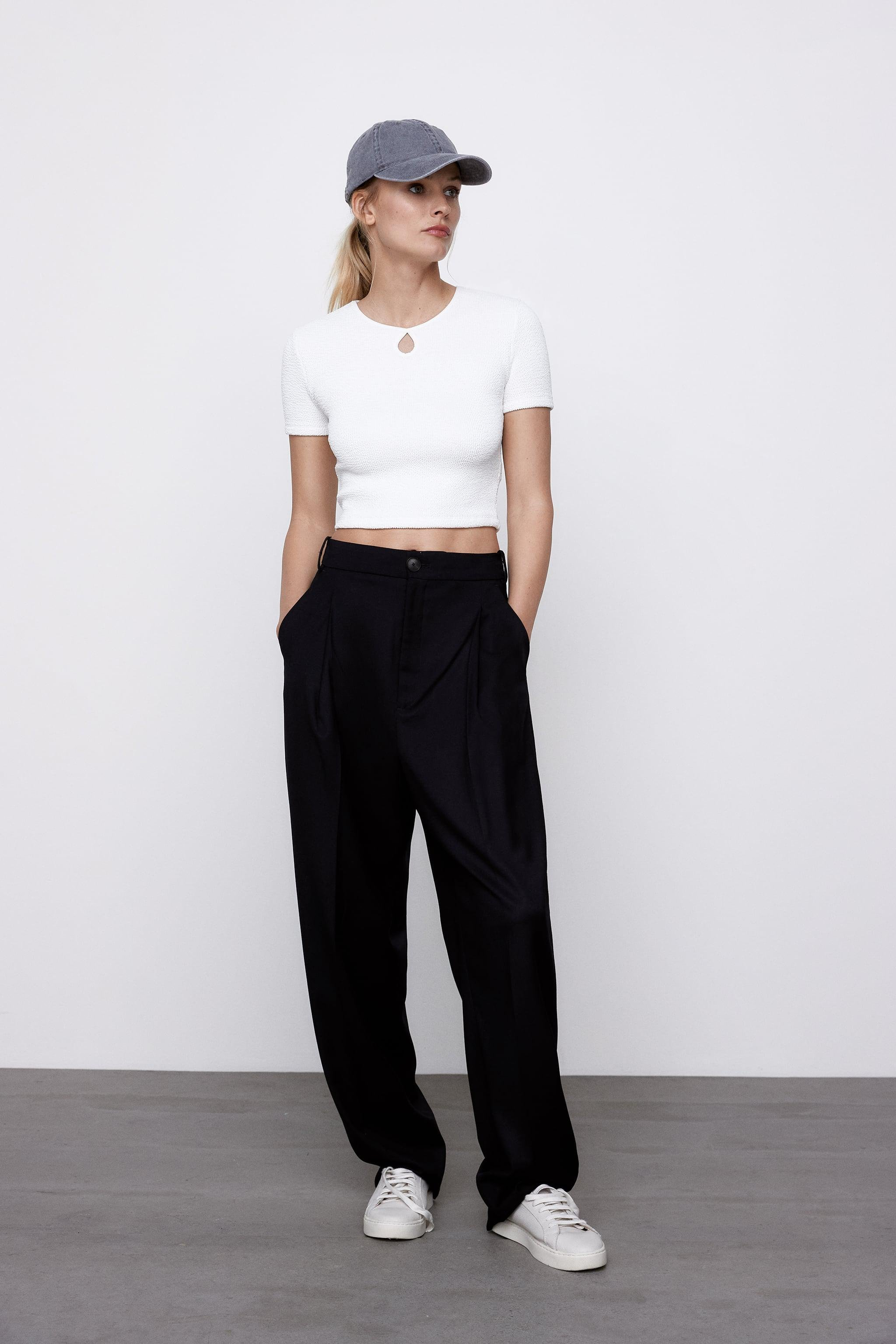 CROPPED TEXTURED WEAVE SHIRT