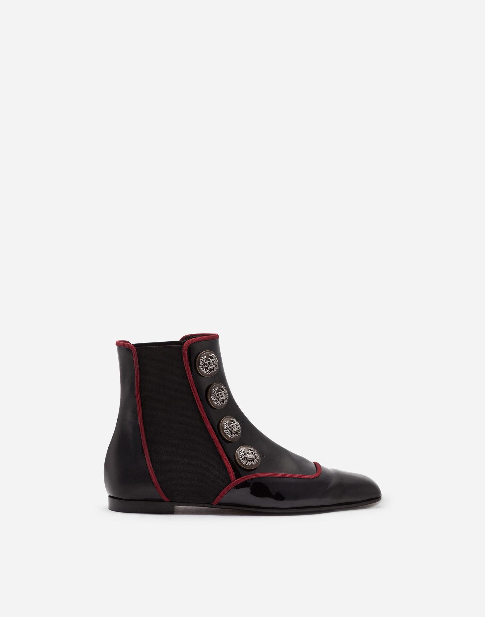 Patent leather chelsea boots with buttons