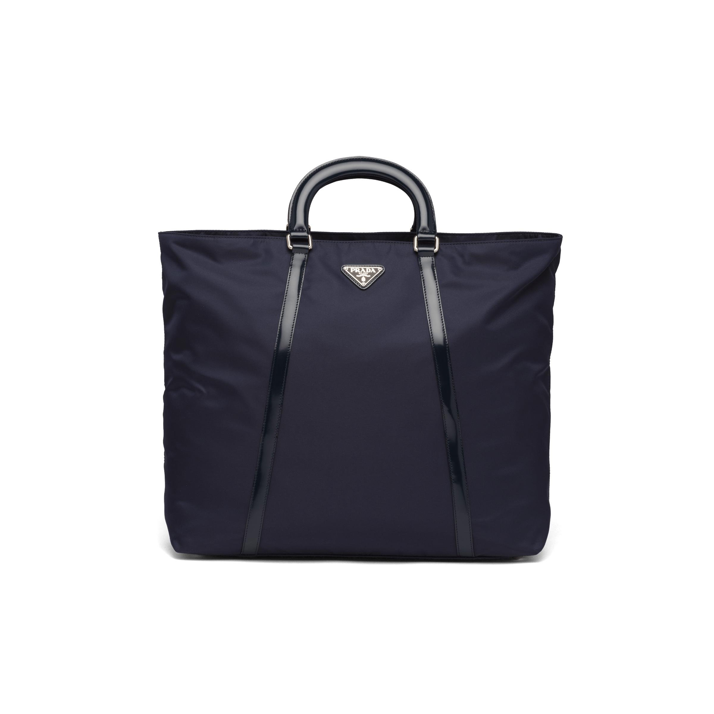 Large Nylon And Leather Tote Women Navy
