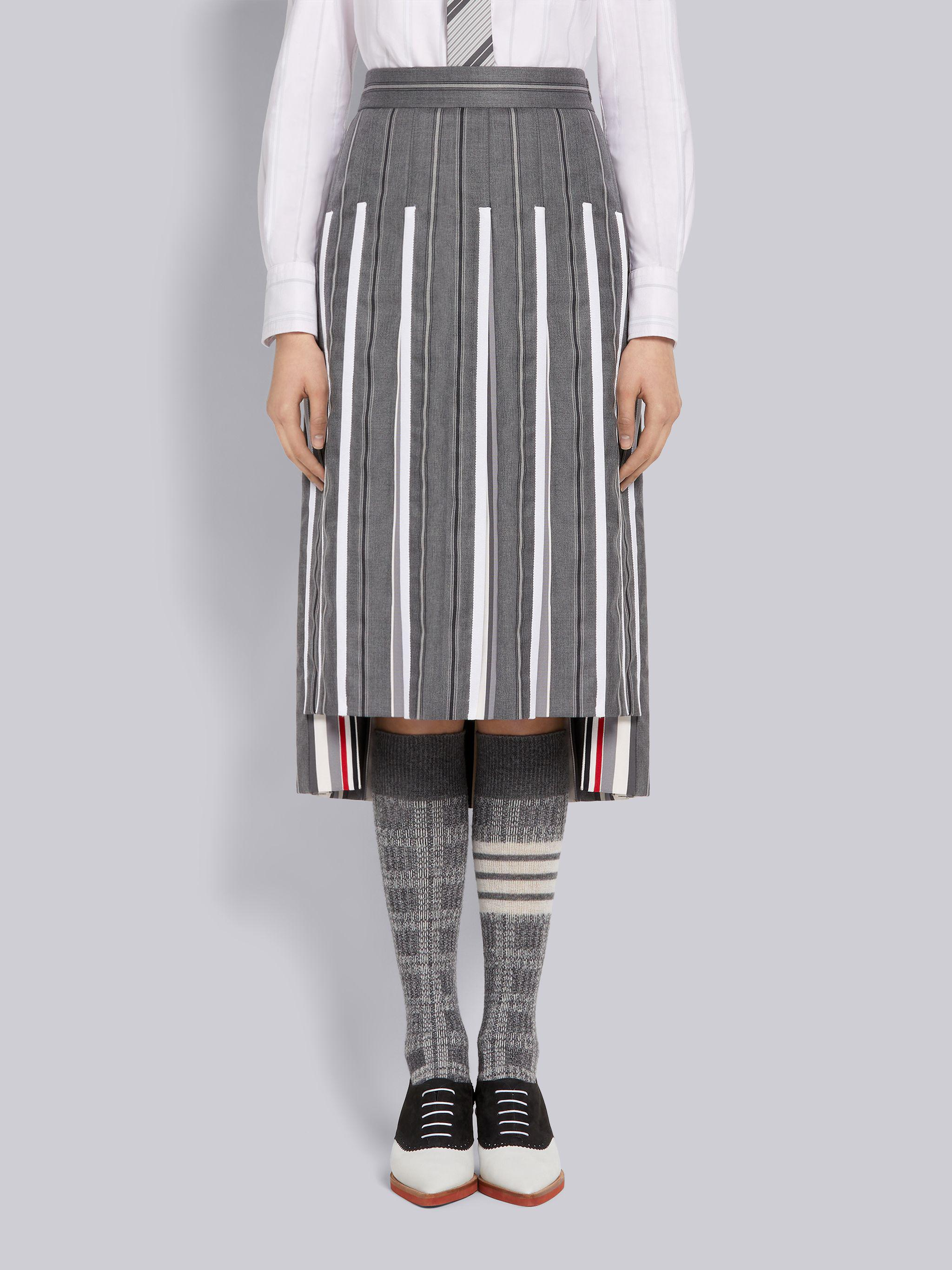 Medium Grey Alternating Stripe Wool Suiting Dropped Back Below-the-Knee Pleated Skirt With Grosgrain Tipping