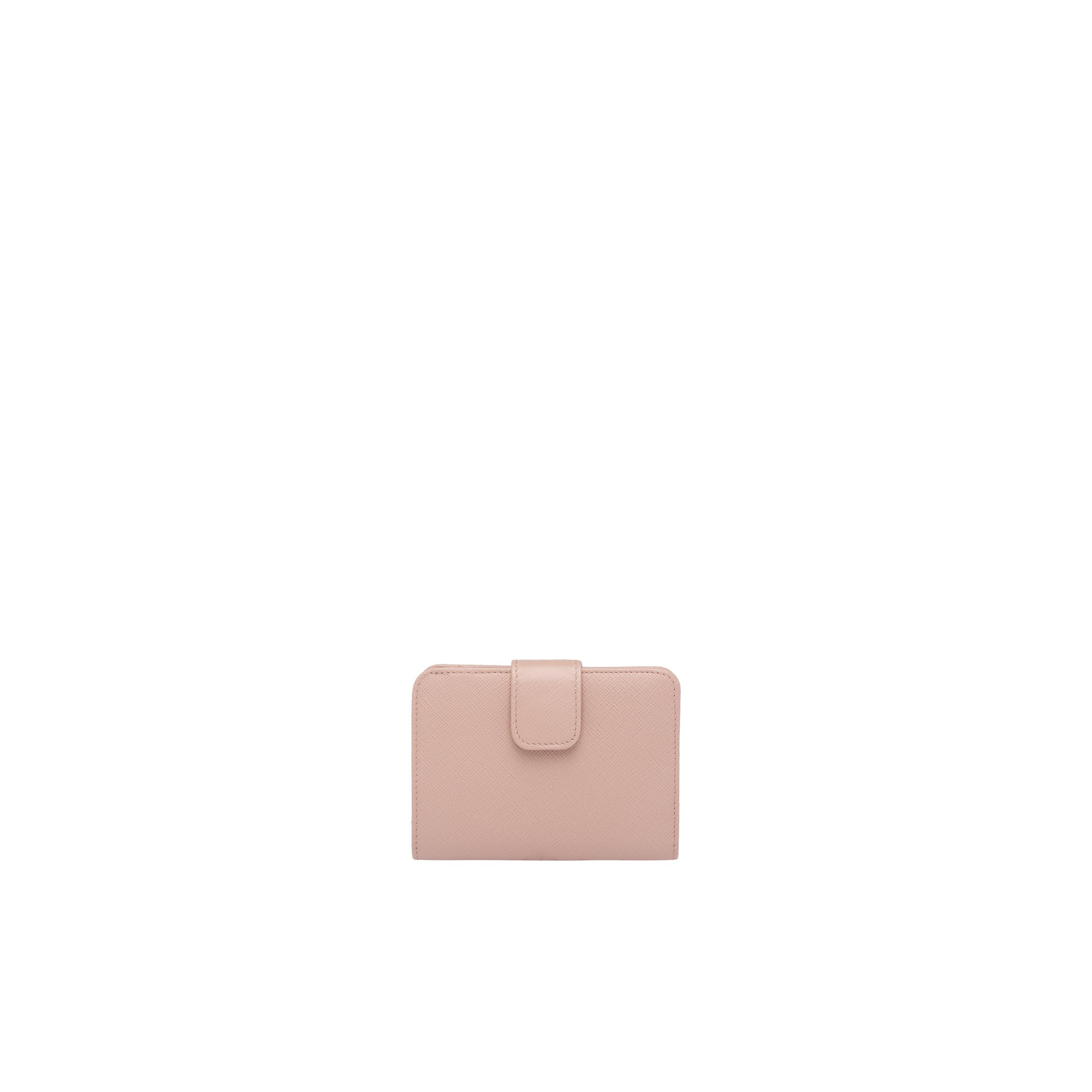Small Saffiano Leather Wallet Women Powder Pink/fiery Red 4
