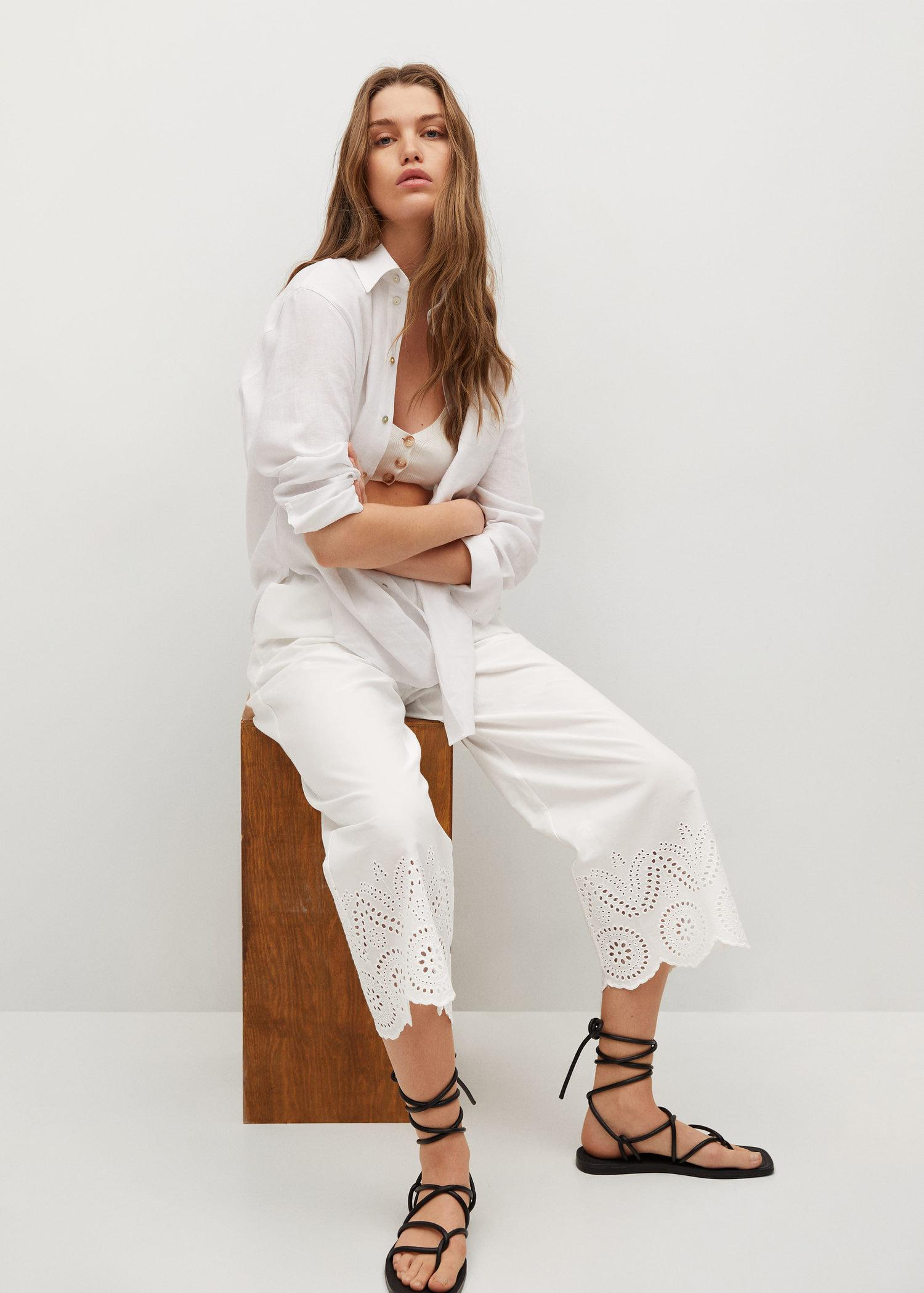 Broderie anglaise cotton pants 3