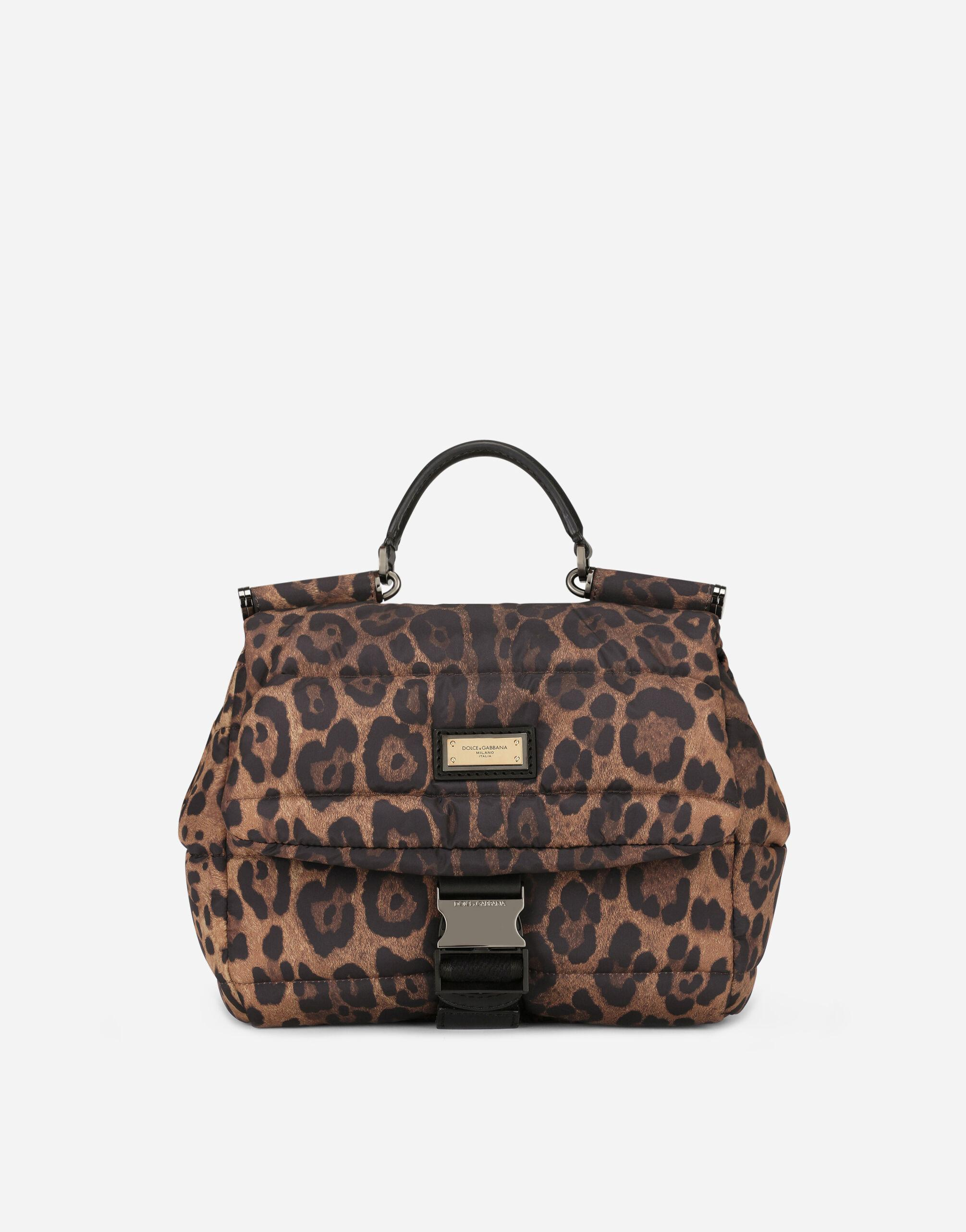Leopard-print Sicily crossbody bag in quilted nylon