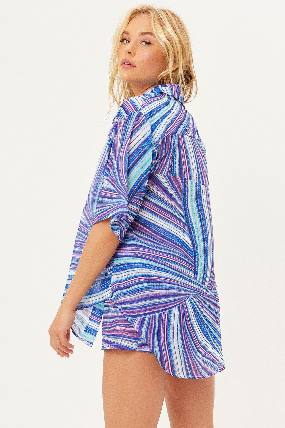 Fifi Sustainable Button Up Shirt - Shimmy Blue 3