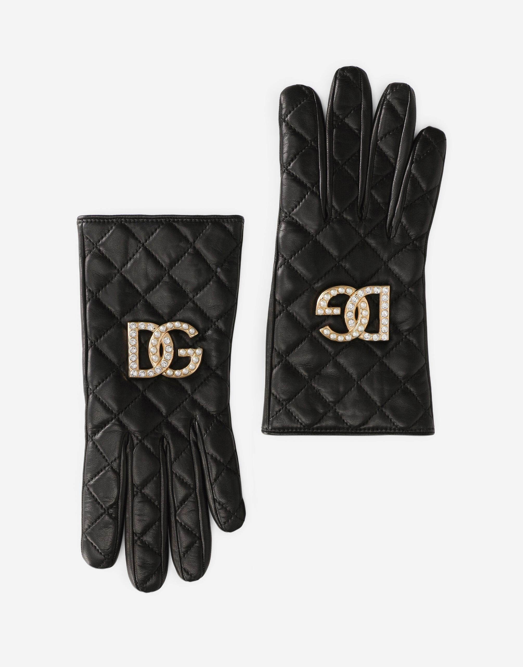 Quilted nappa leather gloves with DG logo