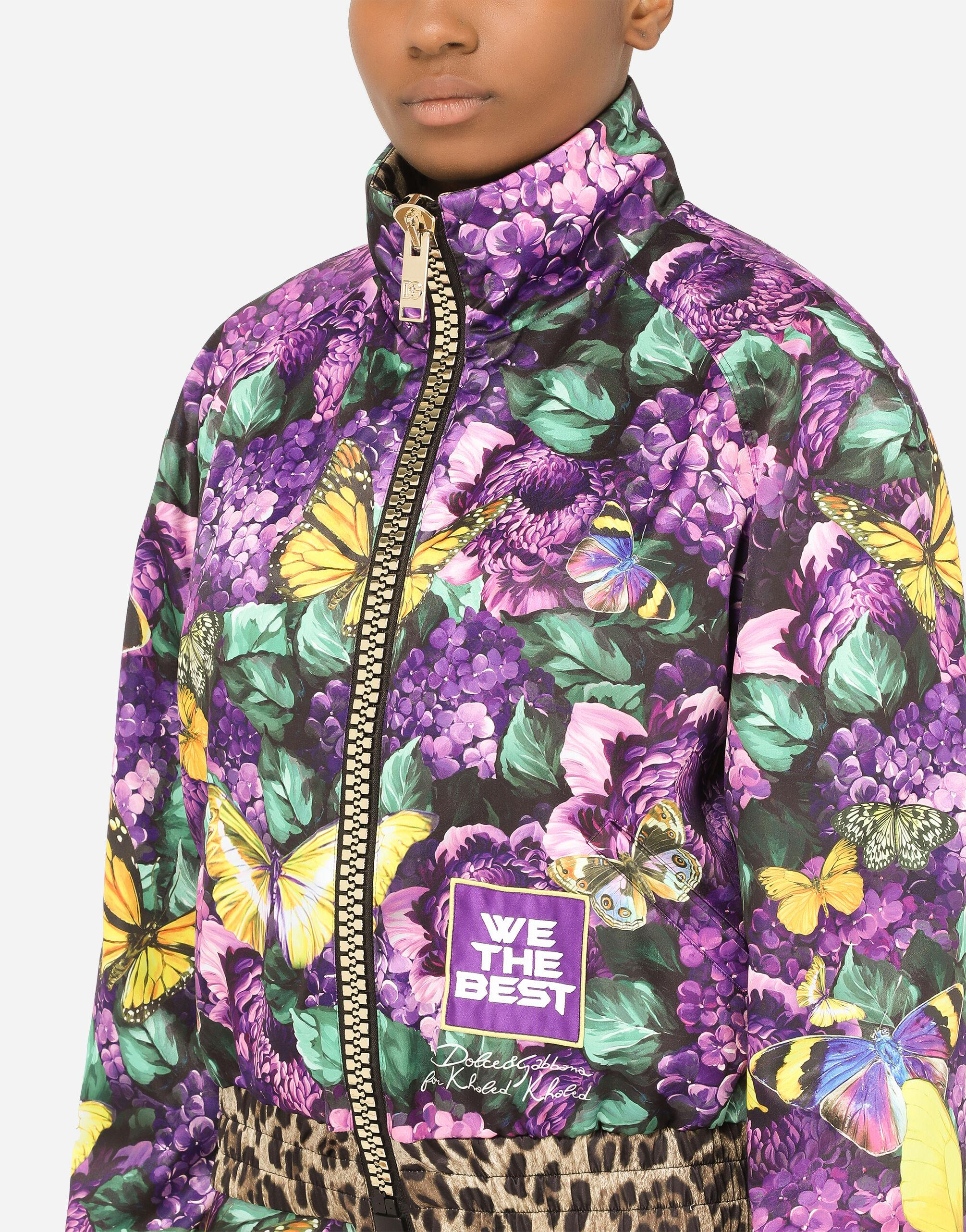 Cropped butterfly-print bomber jacket 2