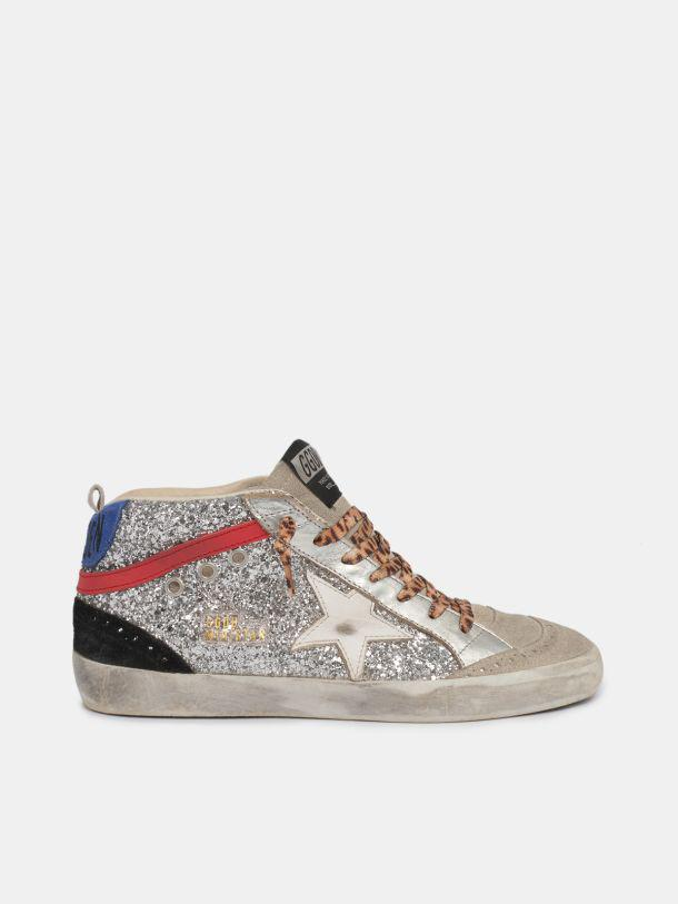 Mid Star sneakers in silver glitter with leopard-print laces and blue heel tab