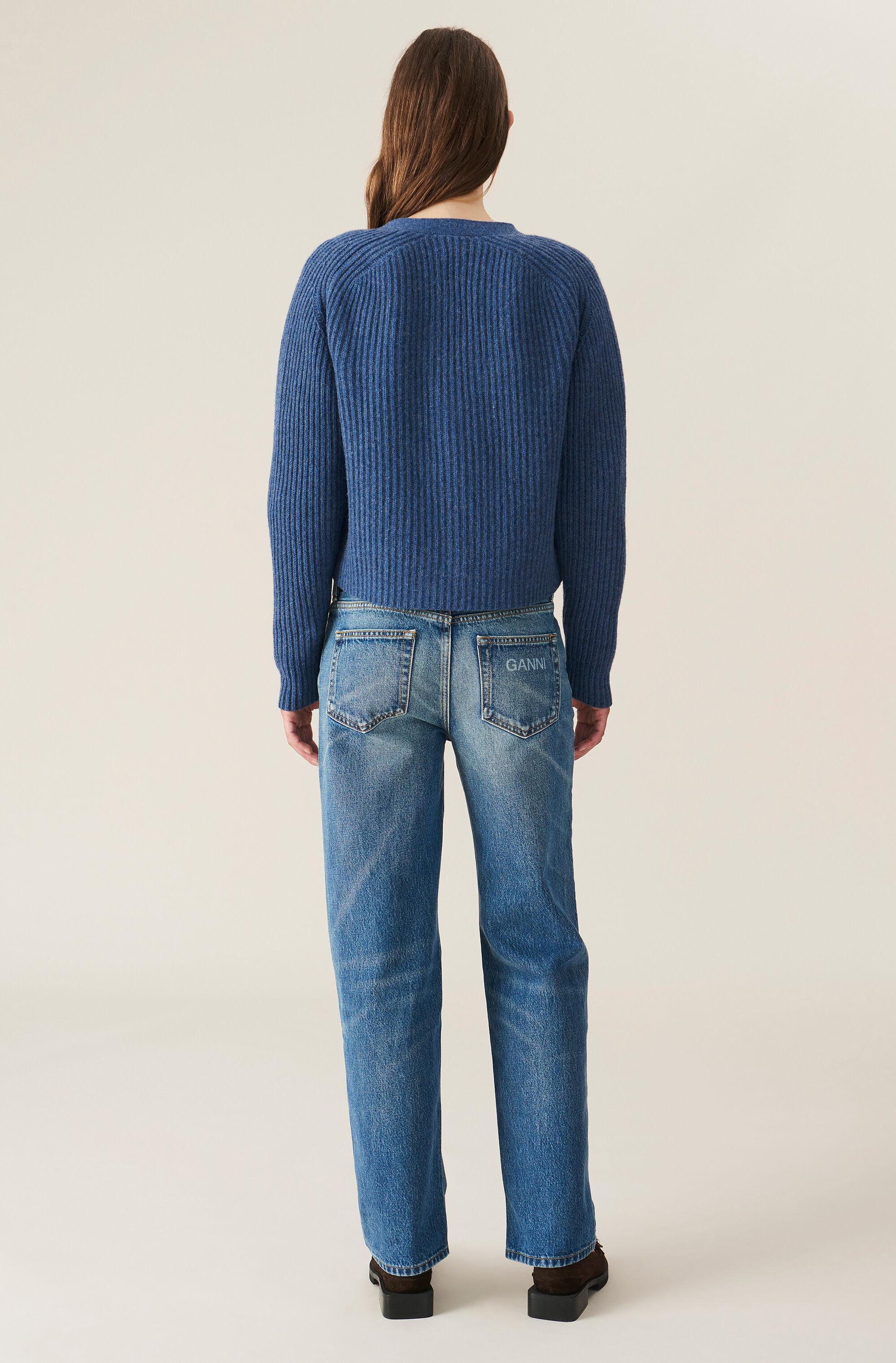 Washed Denim Mid-waist Relaxed Fit Jeans 1