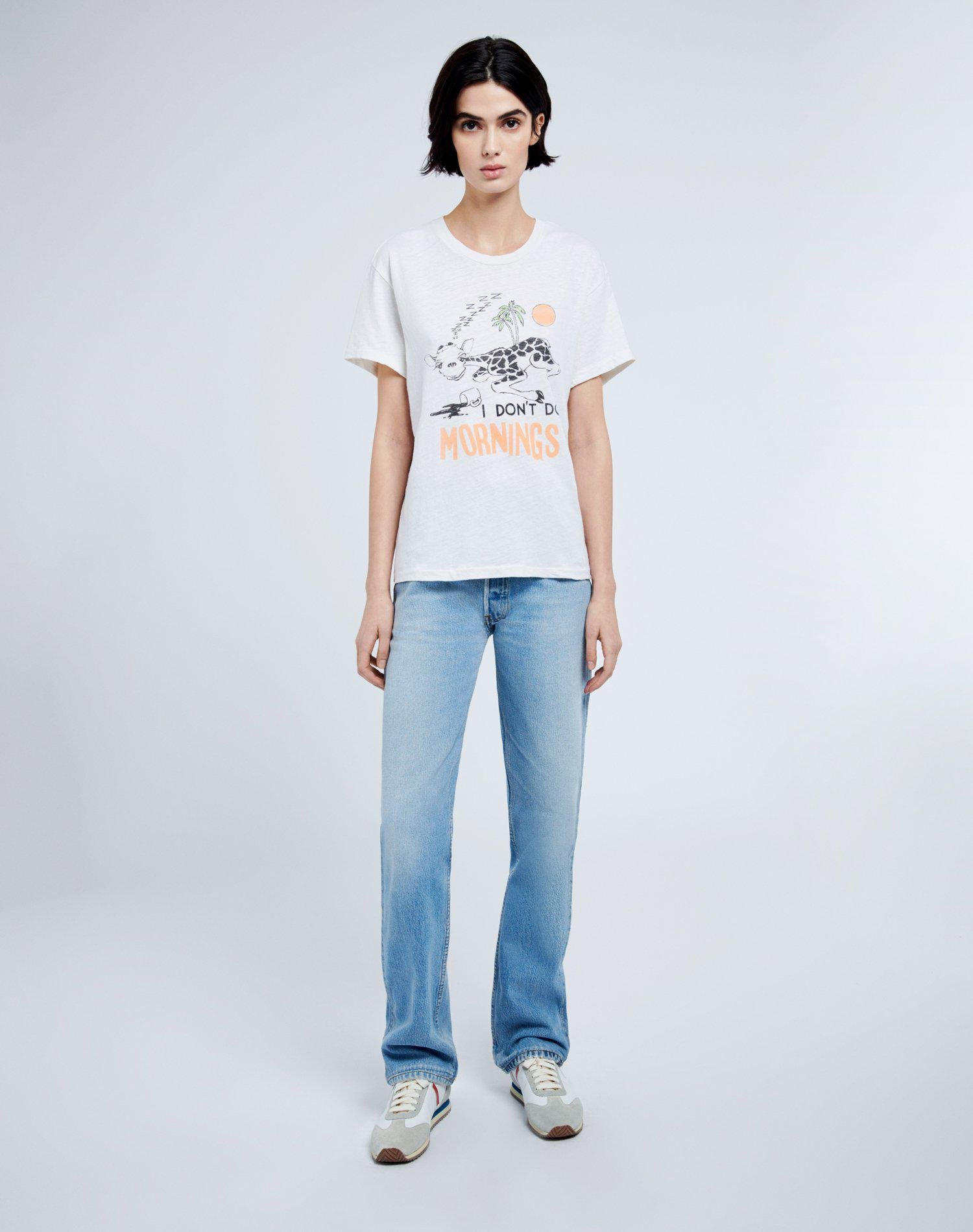 """70s Loose """"I Don't Do Mornings"""" Tee - Vintage White 1"""