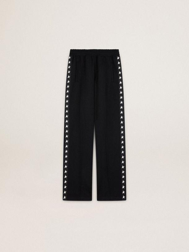 Black Dorotea Star Collection jogging pants with white stars on the sides 3