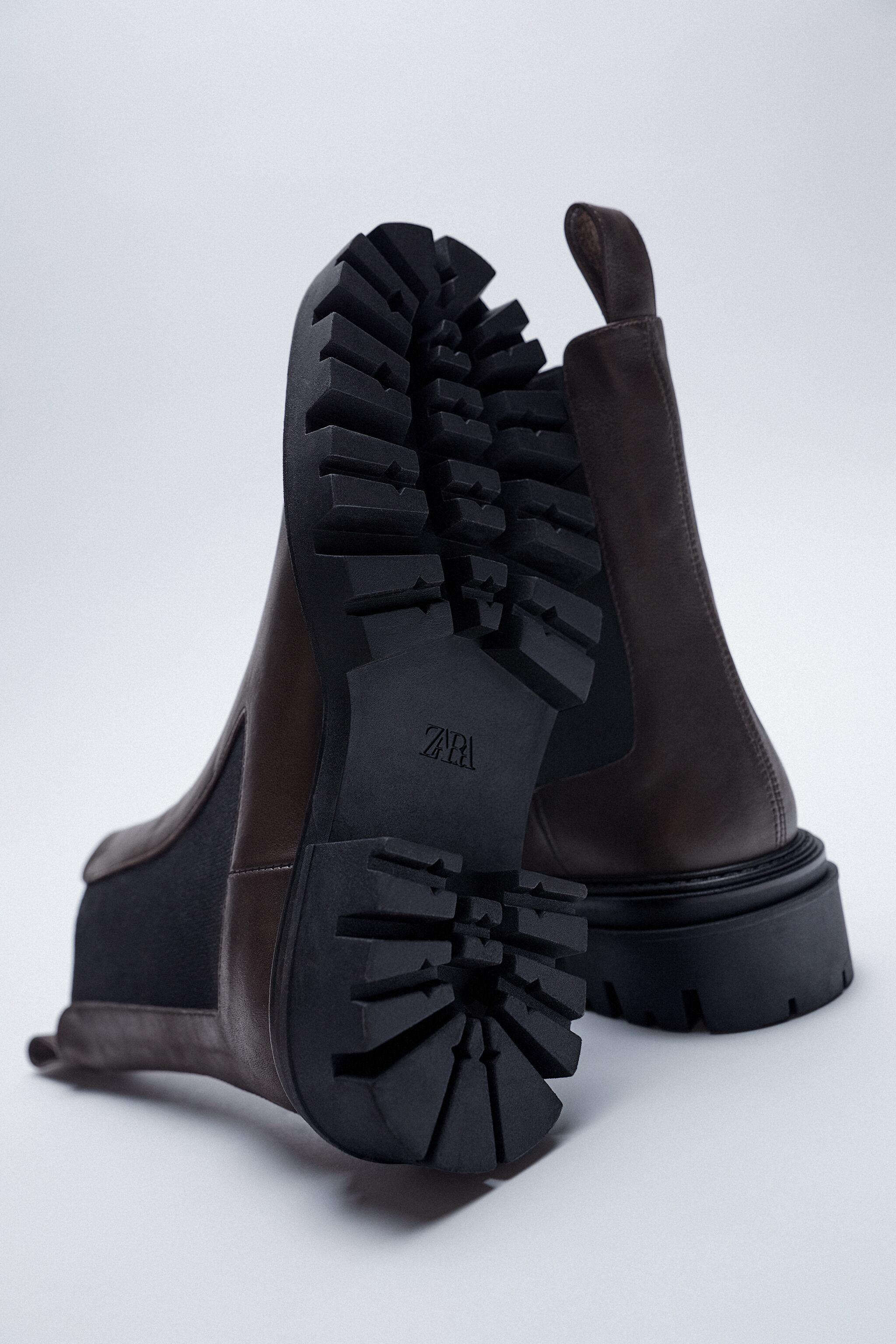LOW HEEL LEATHER ANKLE BOOTS WITH ELASTIC GORING 3