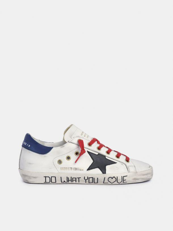 Super-Star sneakers in white leather with black star and blue heel tab 0
