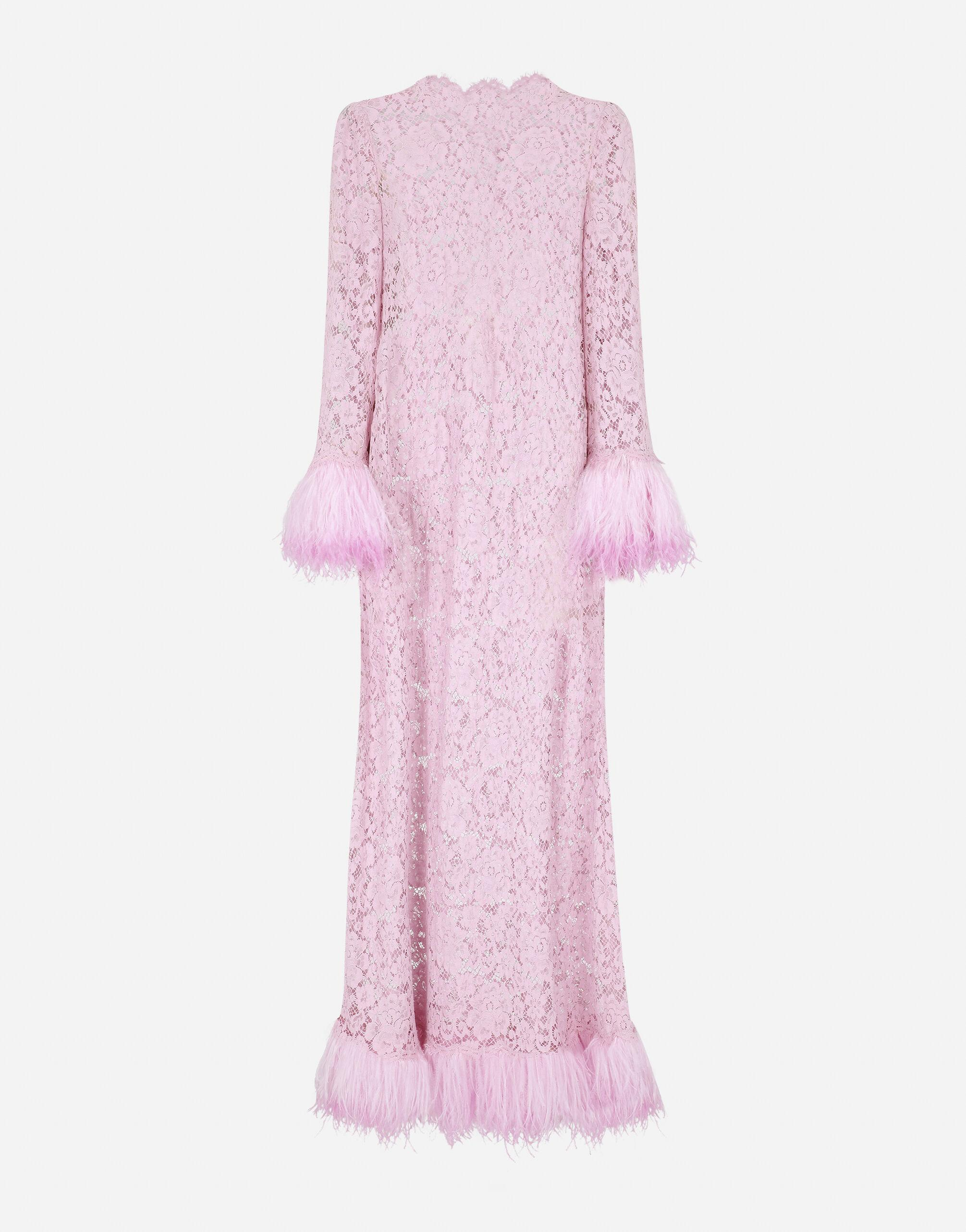 Lace caftan with marabou trim 5
