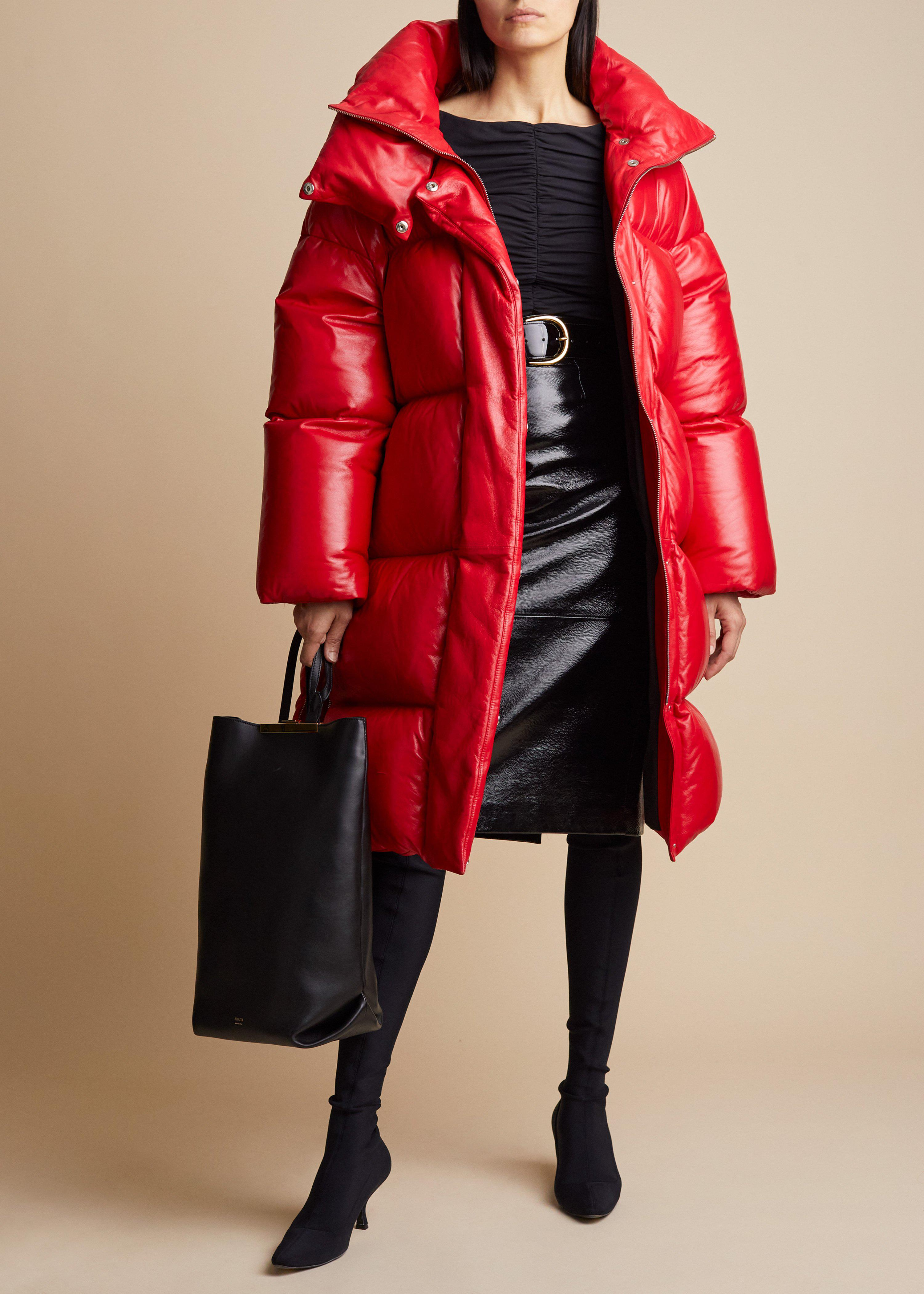 The Leo Puffer Coat in Red Leather