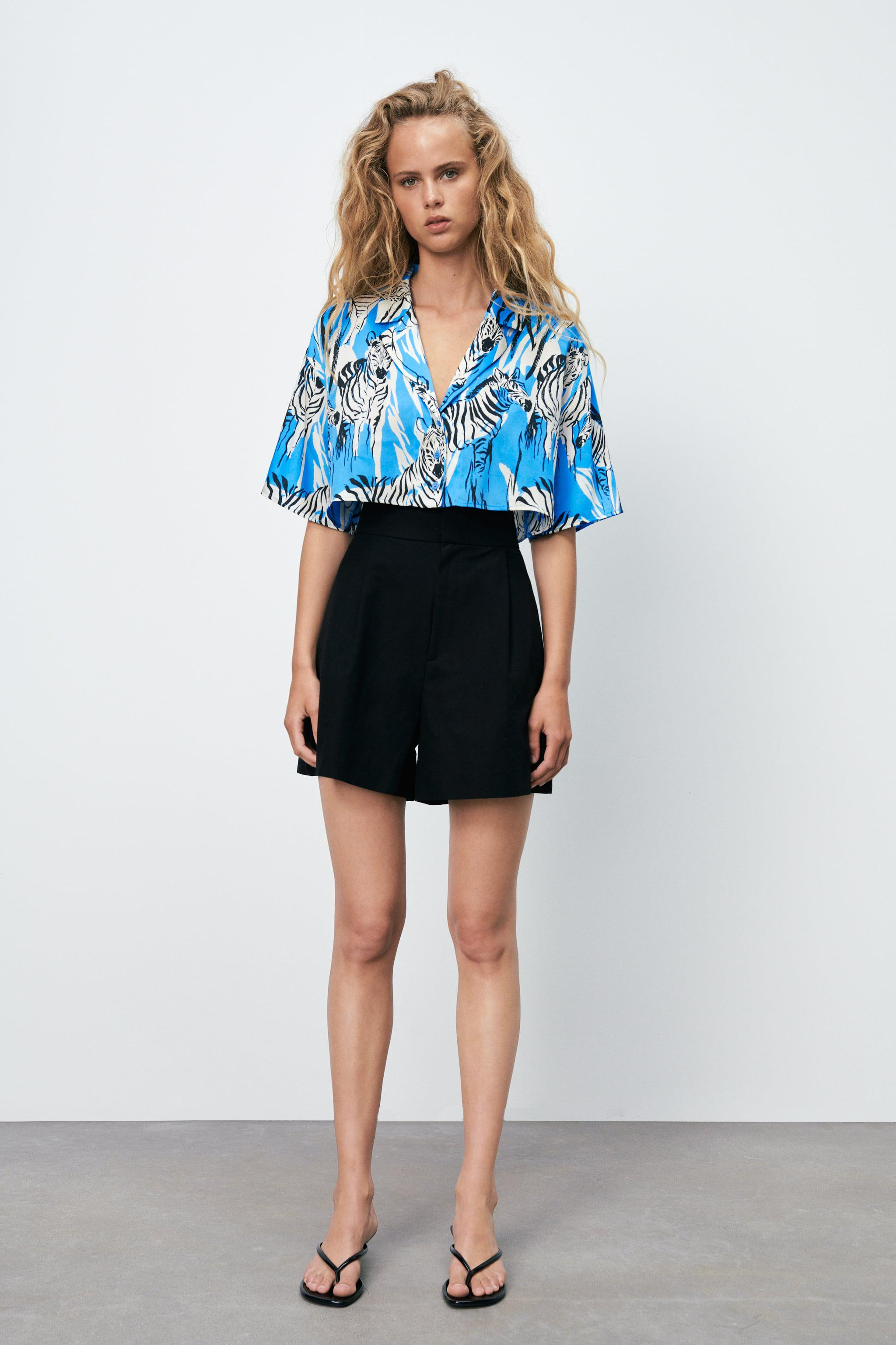 CROPPED PRINT TOP