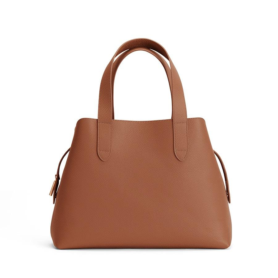Women's Zippered Satchel Bag in Caramel | Pebbled Leather by Cuyana