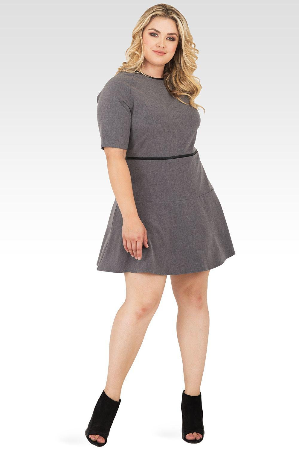 Plus Size Tina Charcoal Gray Exposed Zipper A-Line Suiting Dress