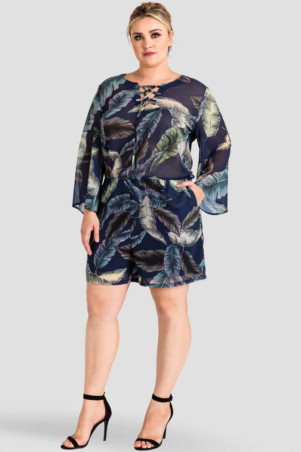 Plus Size Chiffon Barbie Bell Sleeve Lace-Up Romper - Tropical Leaf Print